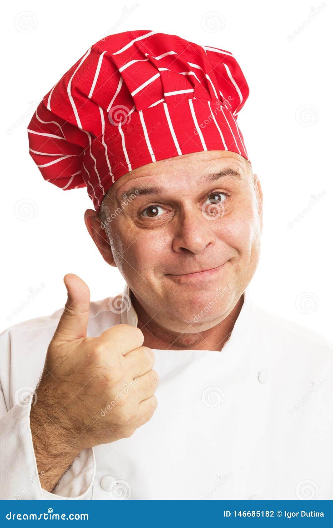 有做表示的红色帽子的厨师