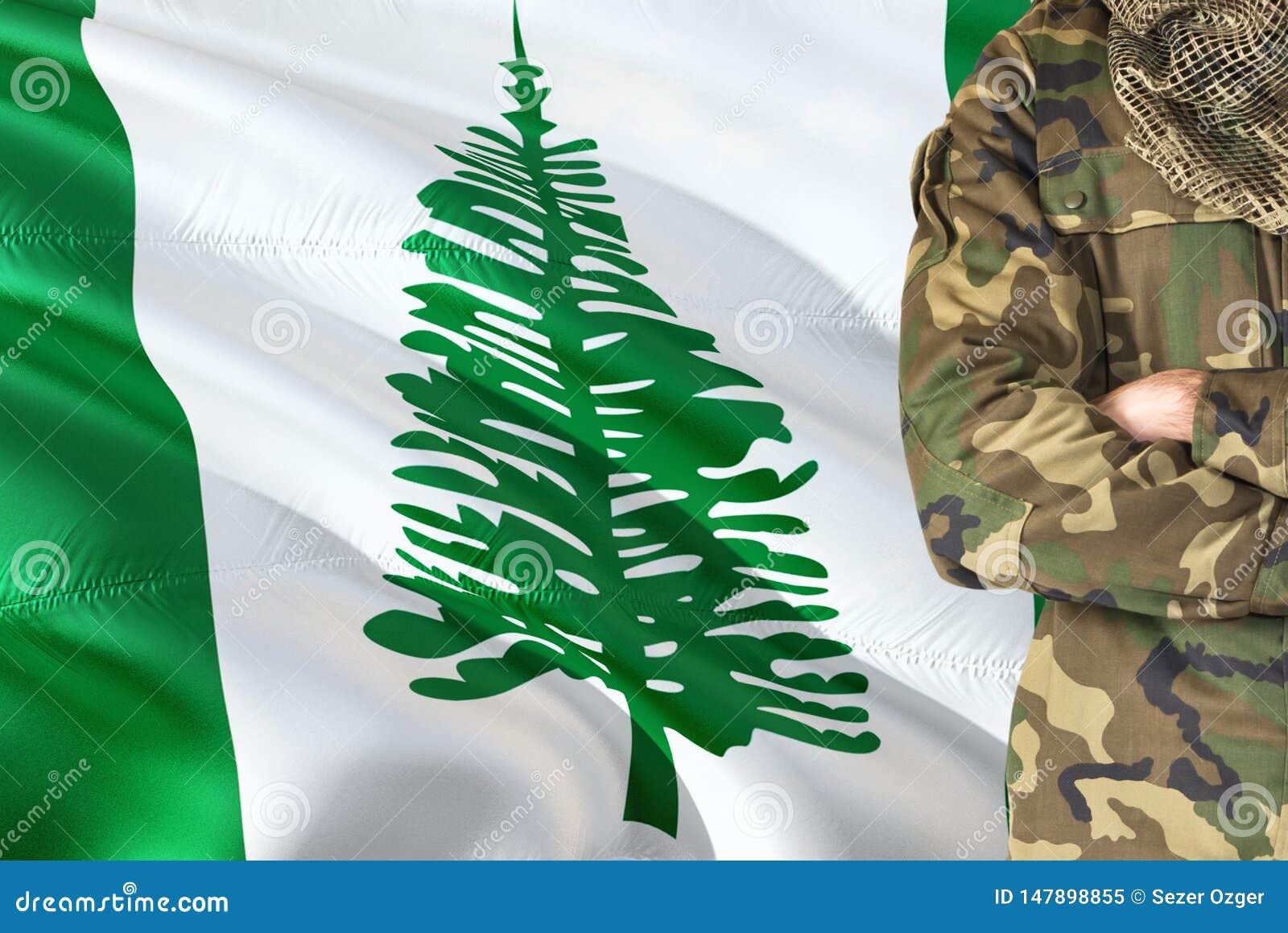 有全国挥动的旗子的横渡的胳膊战士在背景-诺福克岛军事题材