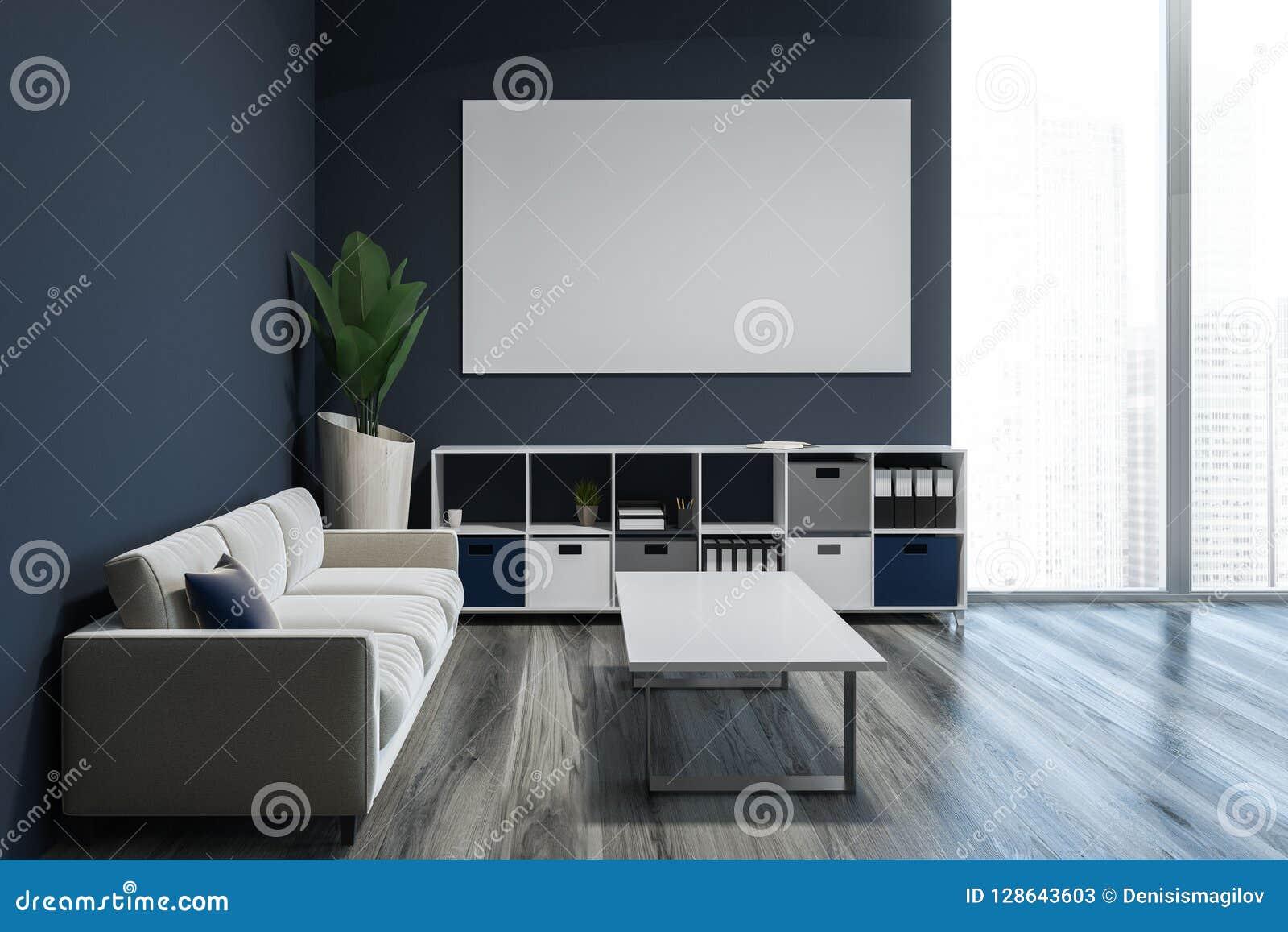 有内阁和海报的,沙发灰色客厅