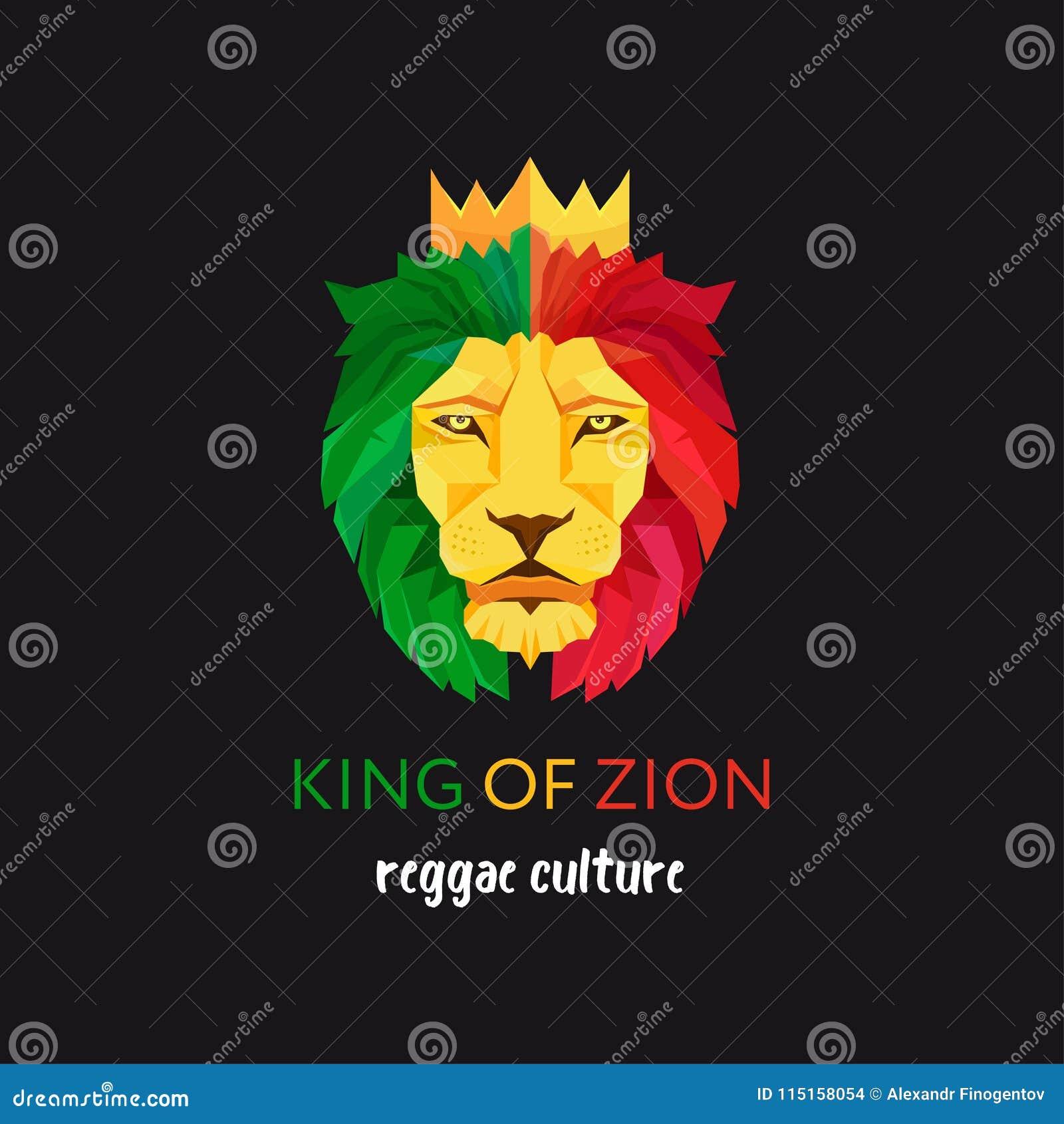有冠的狮子头 锡安的国王 Rastafarian亚文化群的标志 牙买加的旗子颜色
