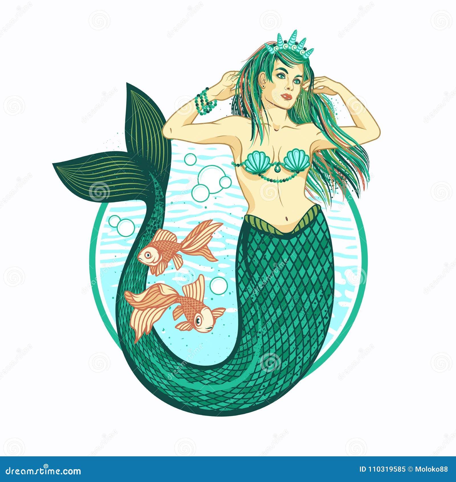 有冠的美人鱼女孩 查出的向量例证