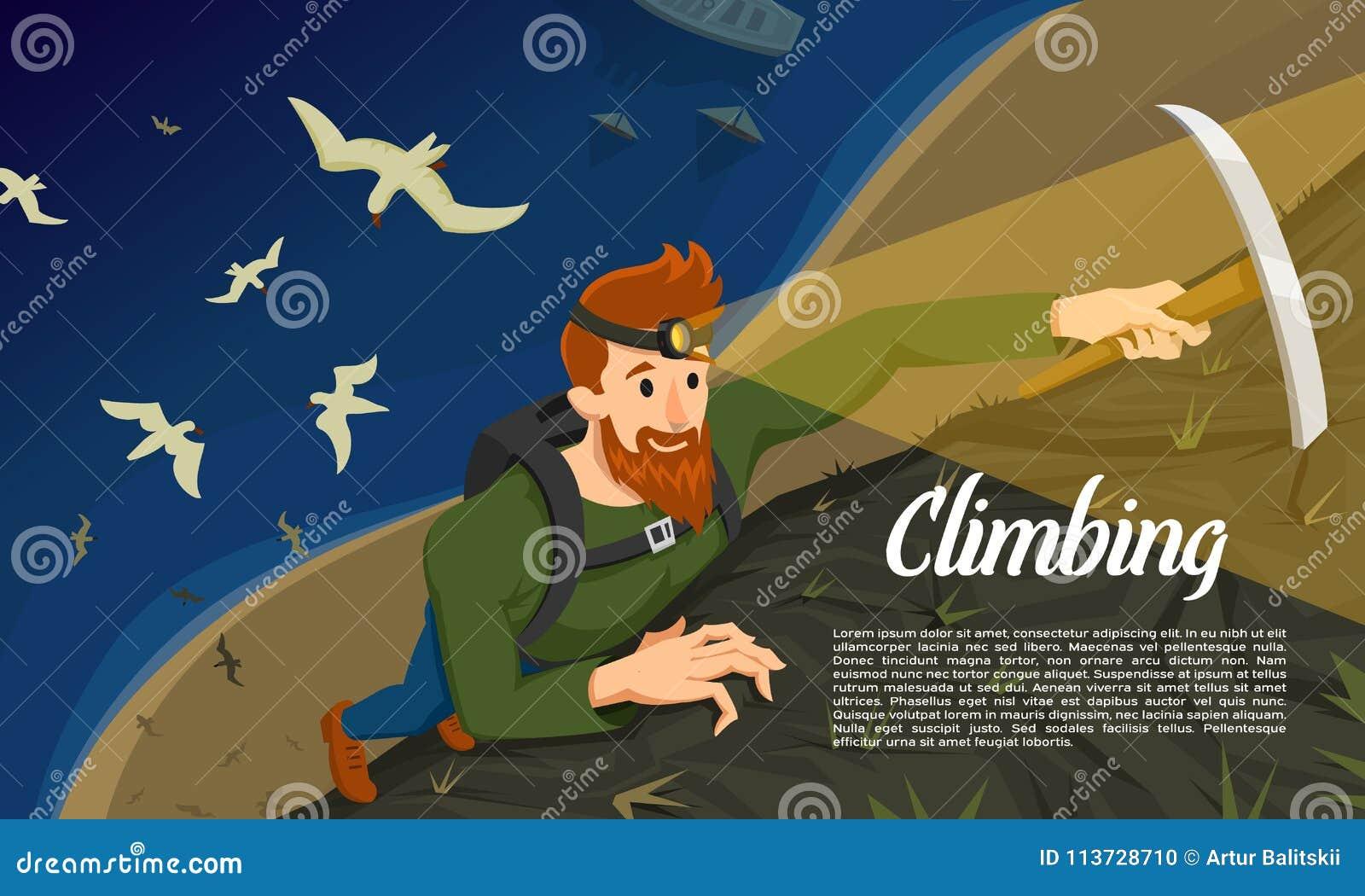 有冰斧的年轻有胡子的行家登山人 攀登一座山在晚上 活动海报的体育概念 游人