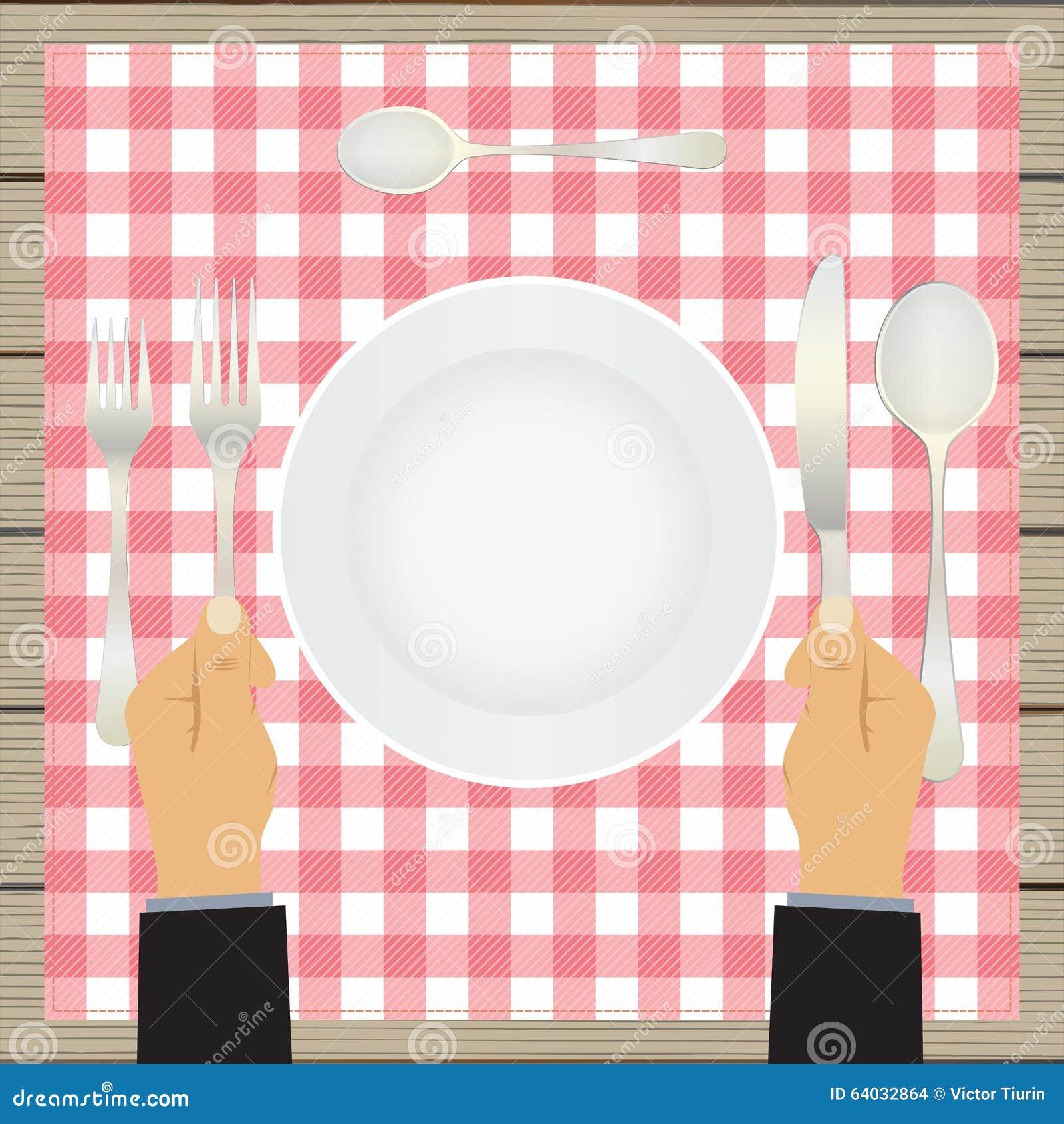 有刀子和叉子的手 碗筷