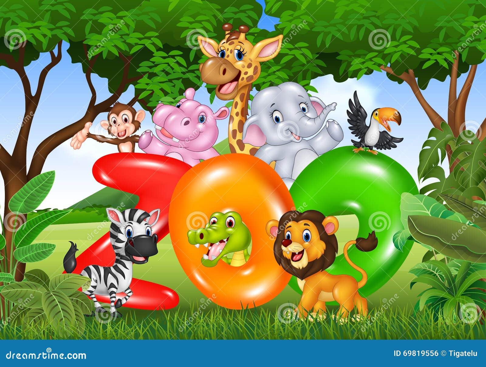 有动画片野生动物的非洲词动物园