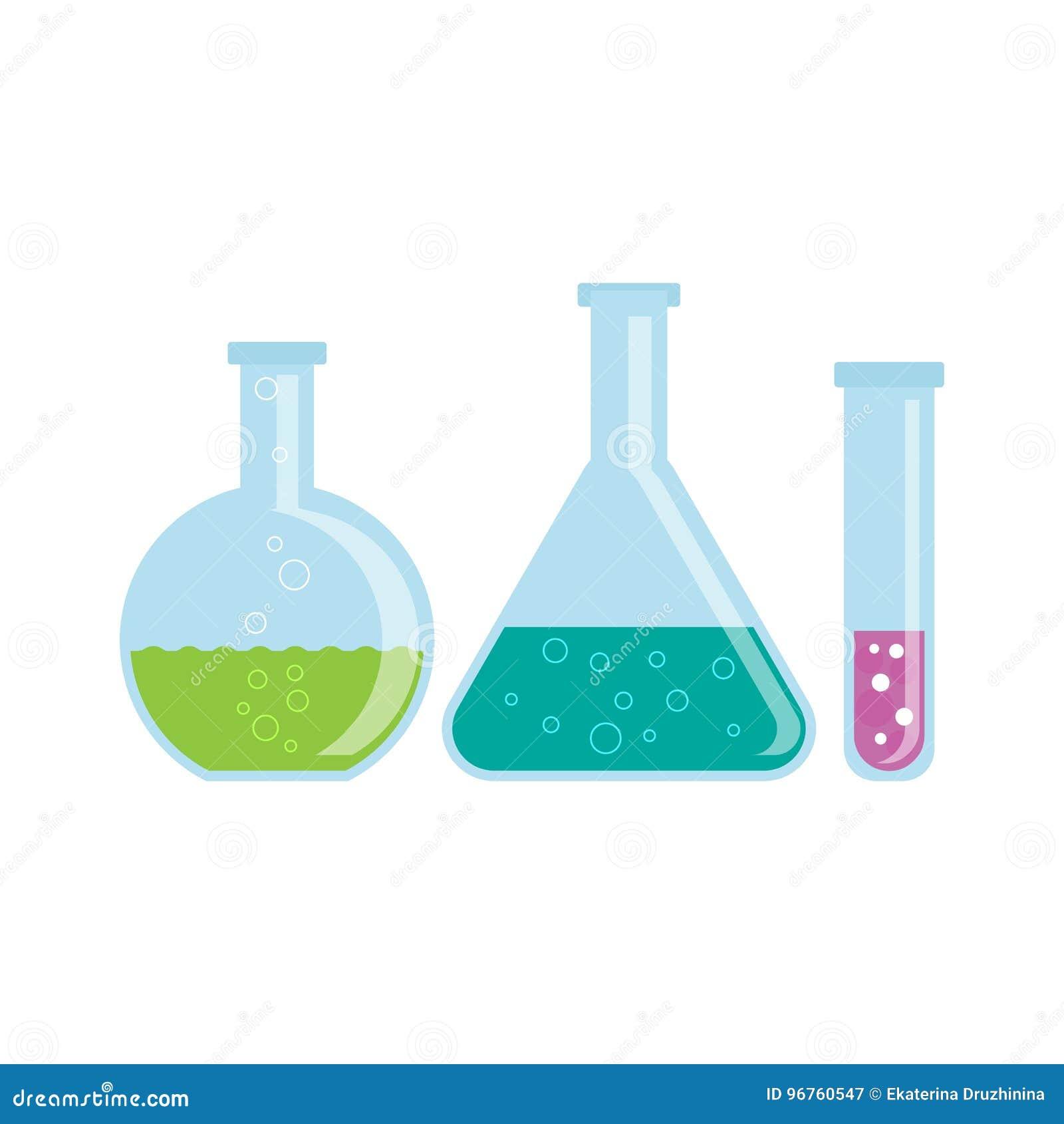 有化学制品的玻璃烧瓶