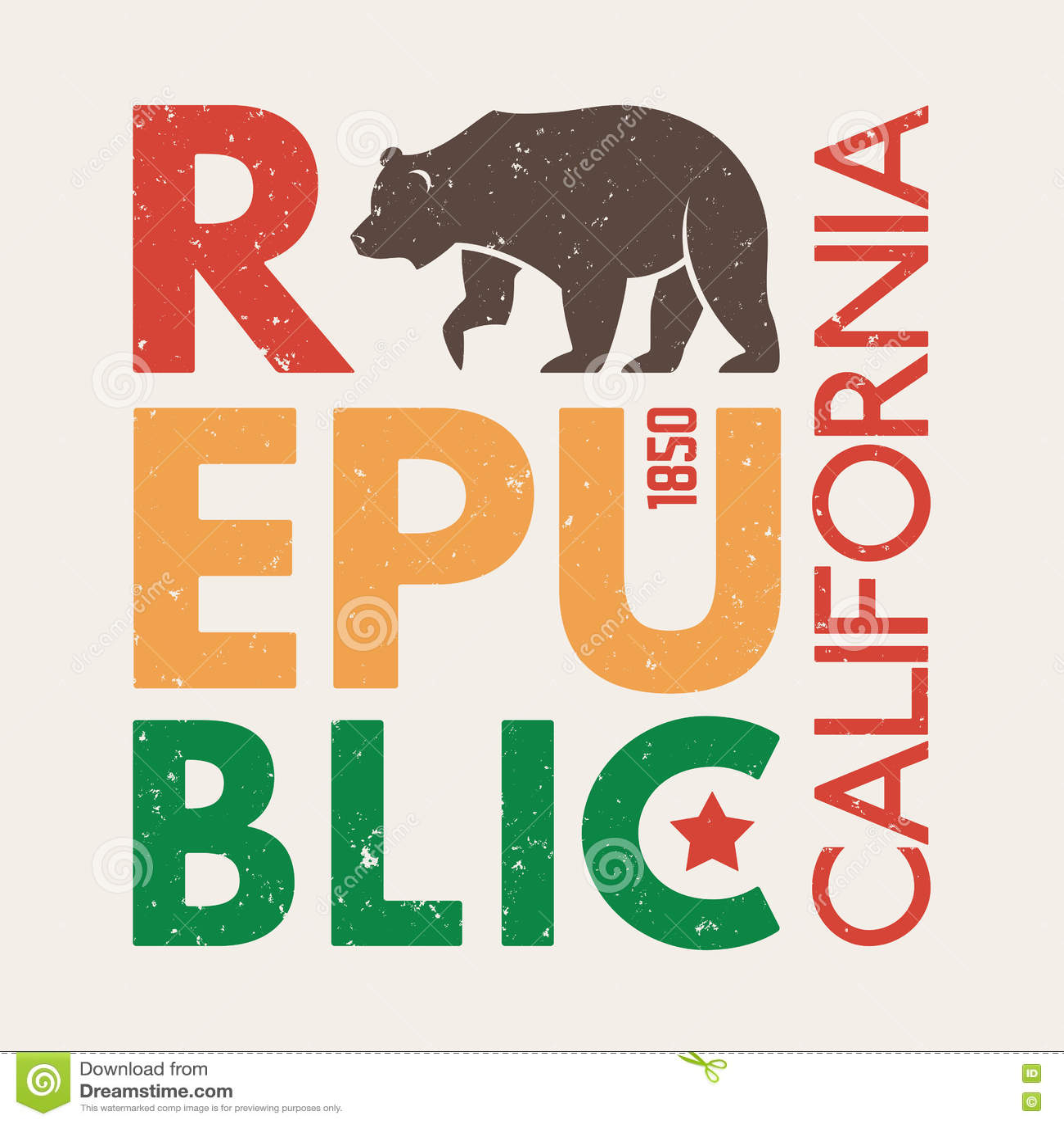 有北美灰熊的加利福尼亚T恤杉 T恤杉图表,设计,印刷品,印刷术,标签,徽章