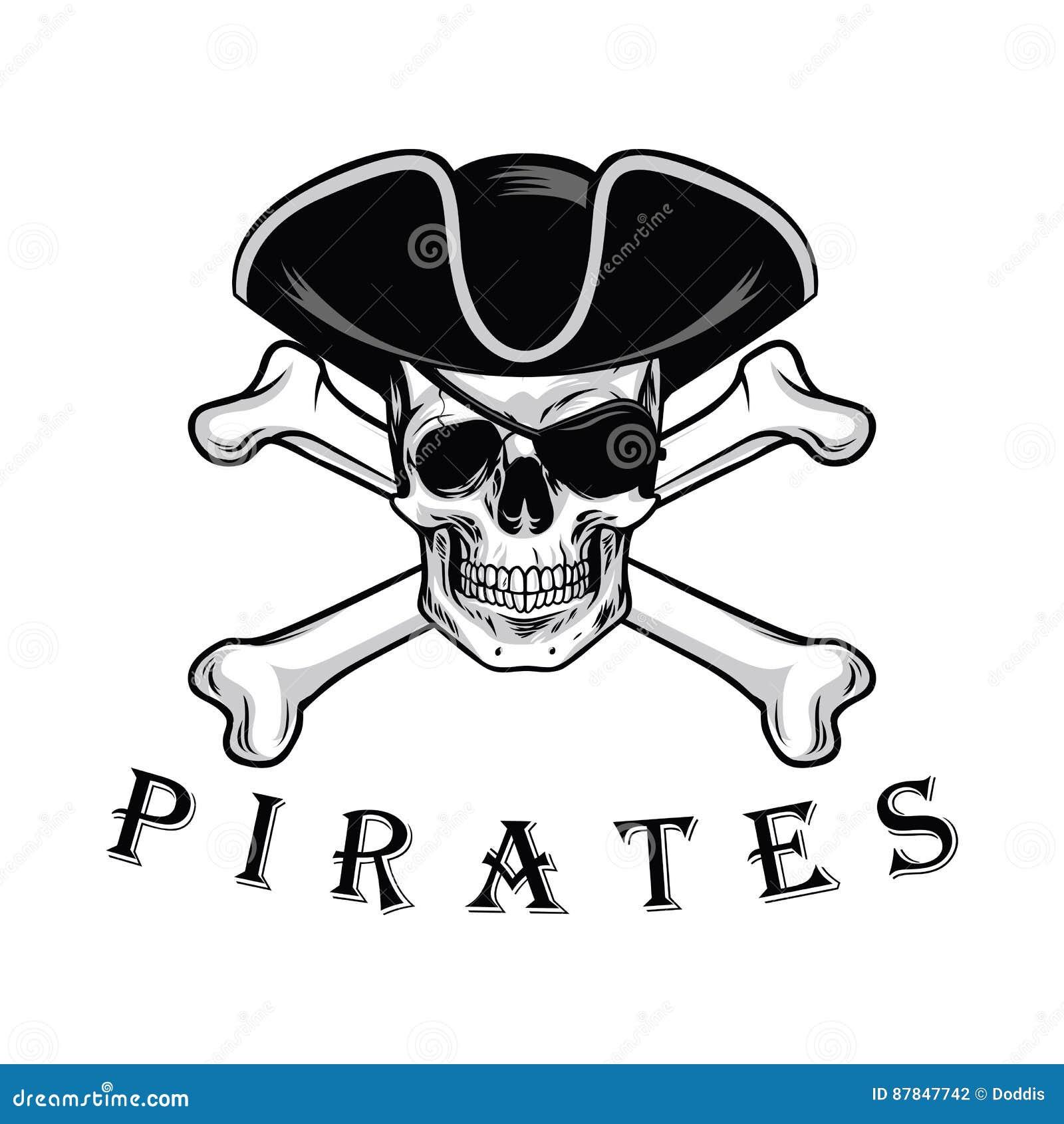 有十字架骨头帽子和眼罩商标设计传染媒介例证的海盗头骨