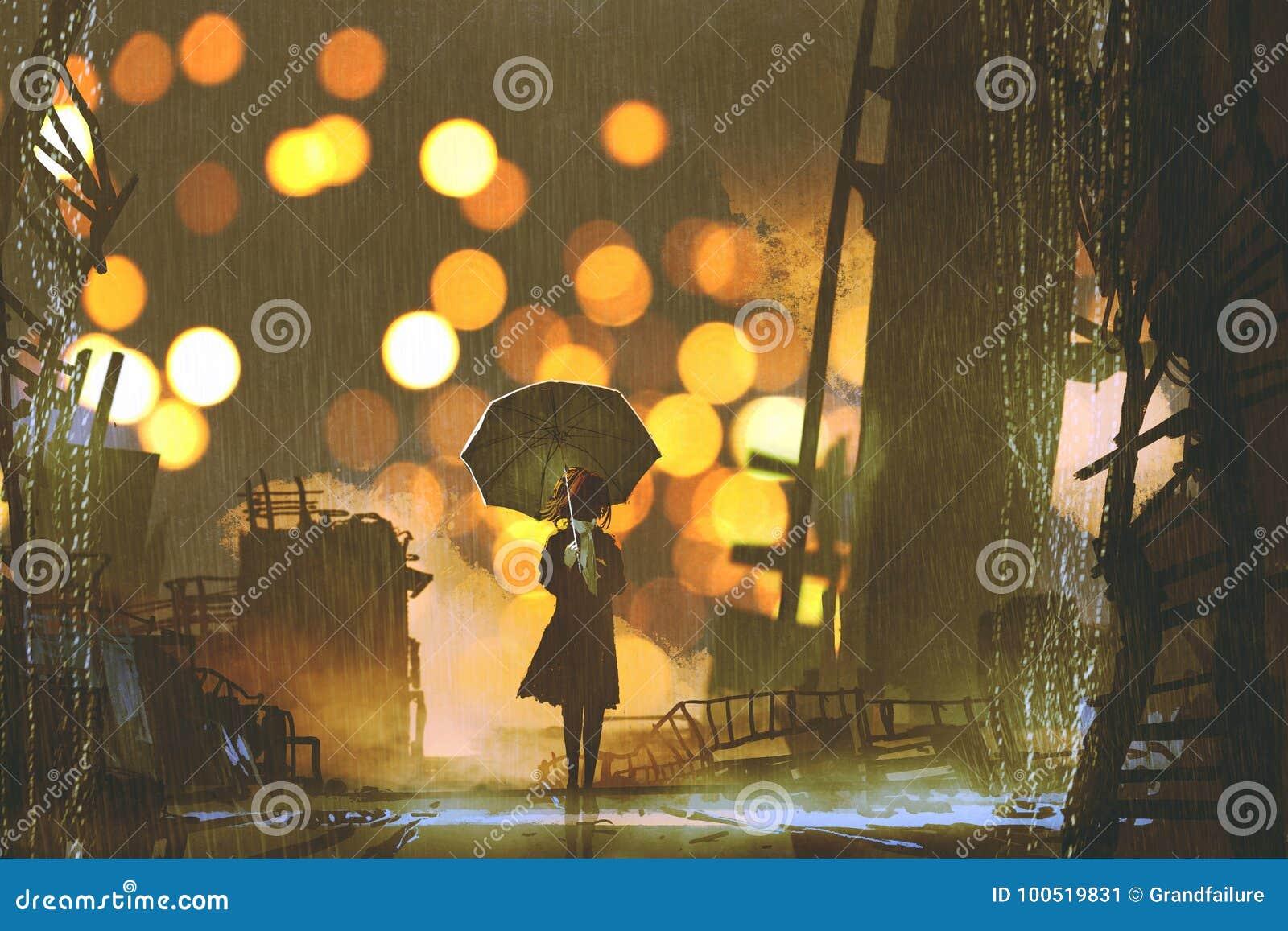 有单独站立在被放弃的城市的伞的妇女