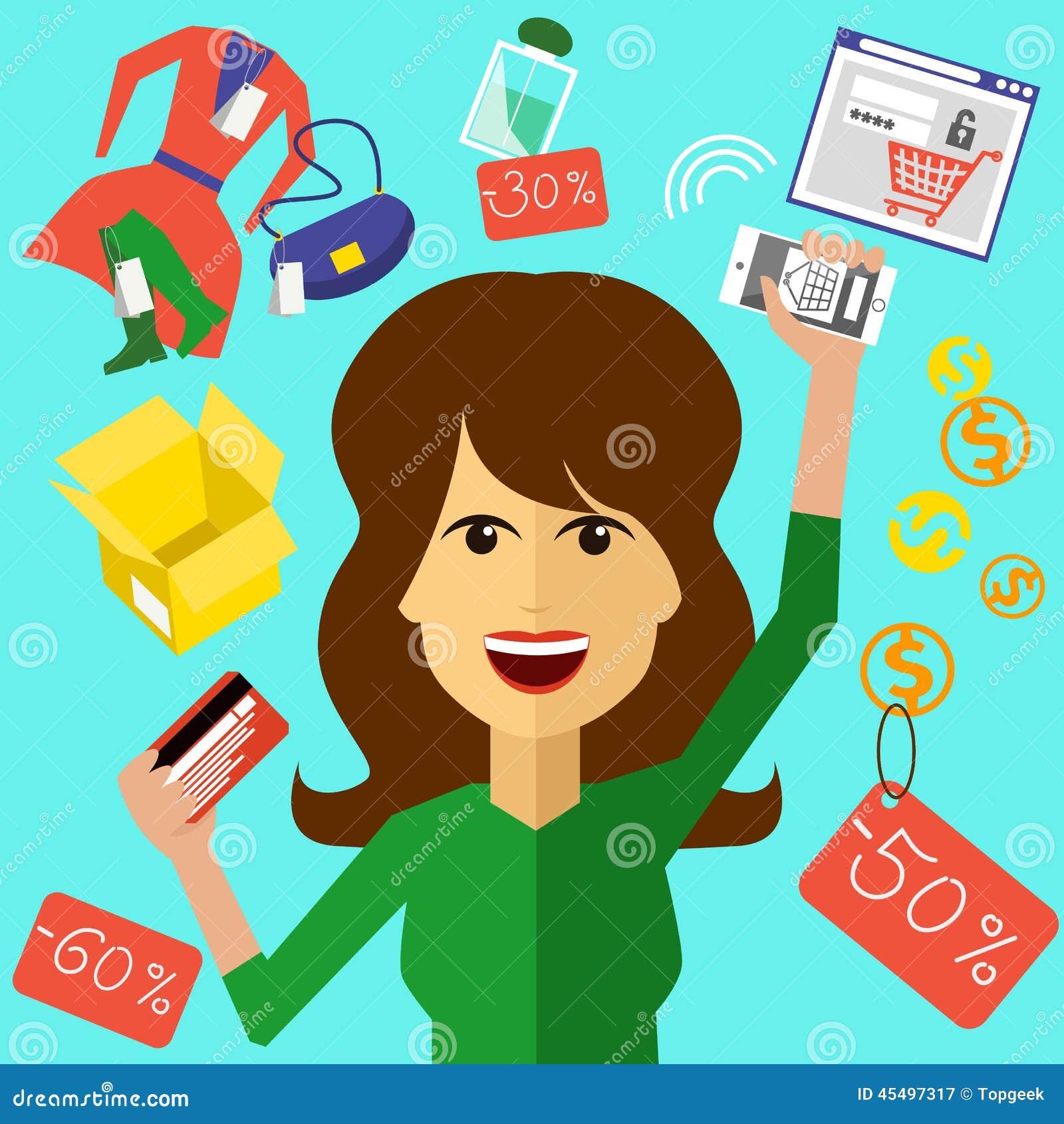 有卡片的愉快的妇女和电话在手上