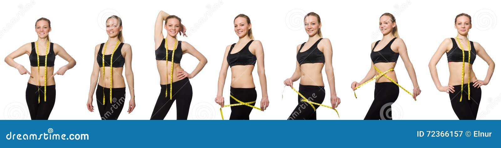 有厘米的女孩在节食的概念