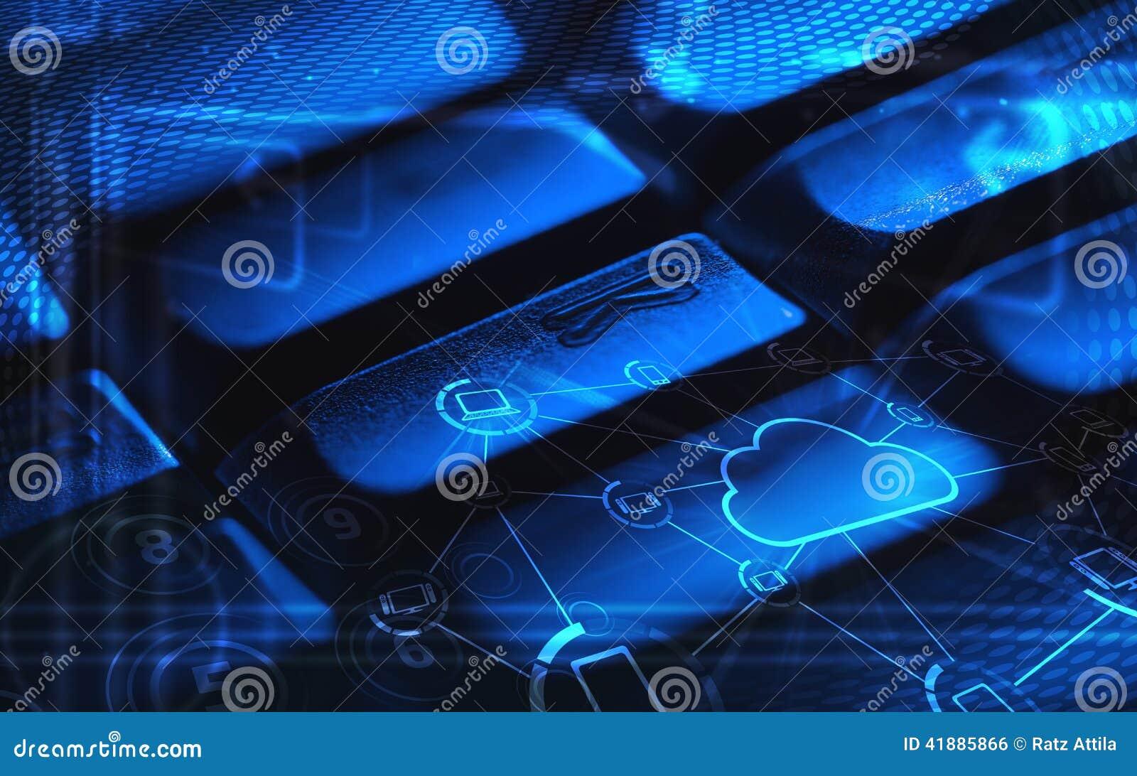 有发光的云彩技术象的键盘