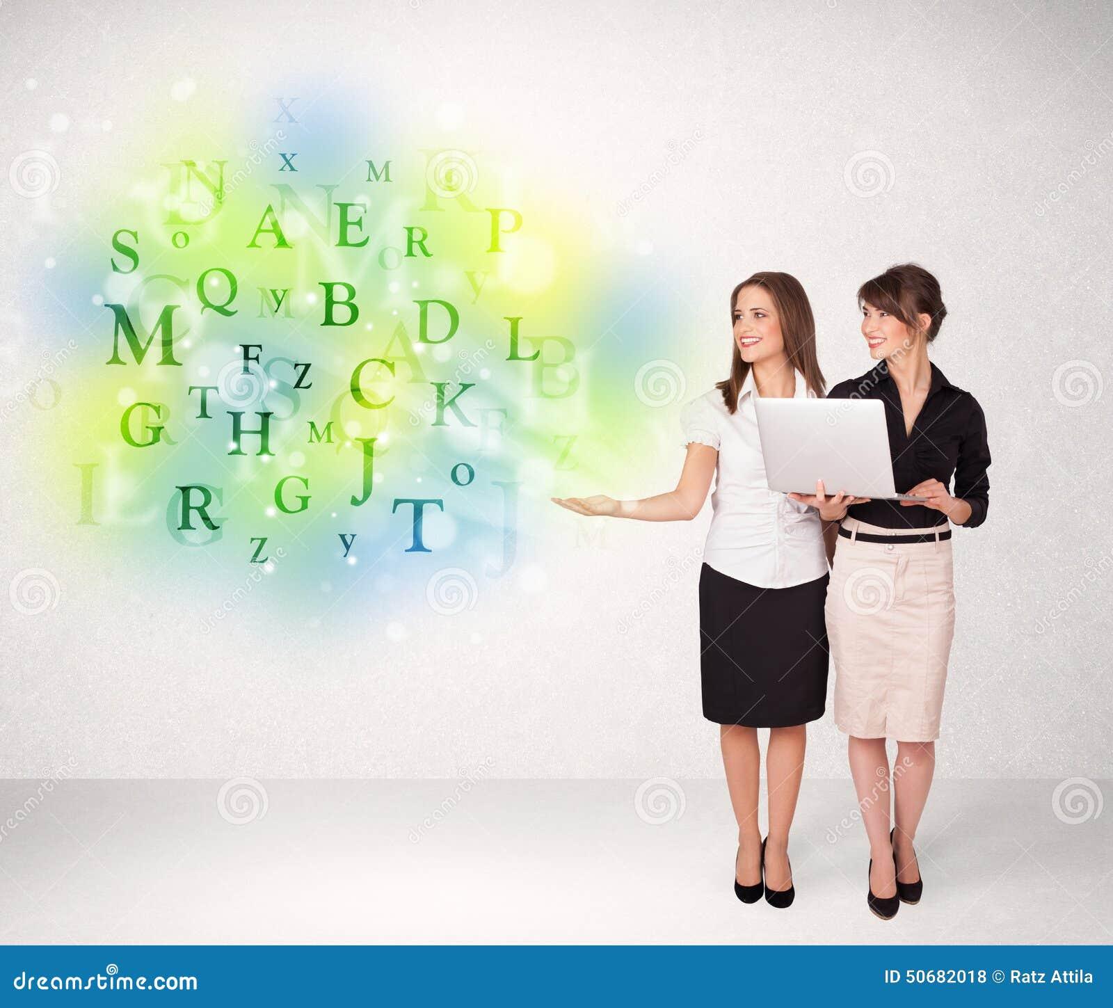 Download 有发光的信件概念的女商人 库存例证. 插画 包括有 电子, 设备, 绿色, 关键字, 现有量, 艺术, 互联网 - 50682018