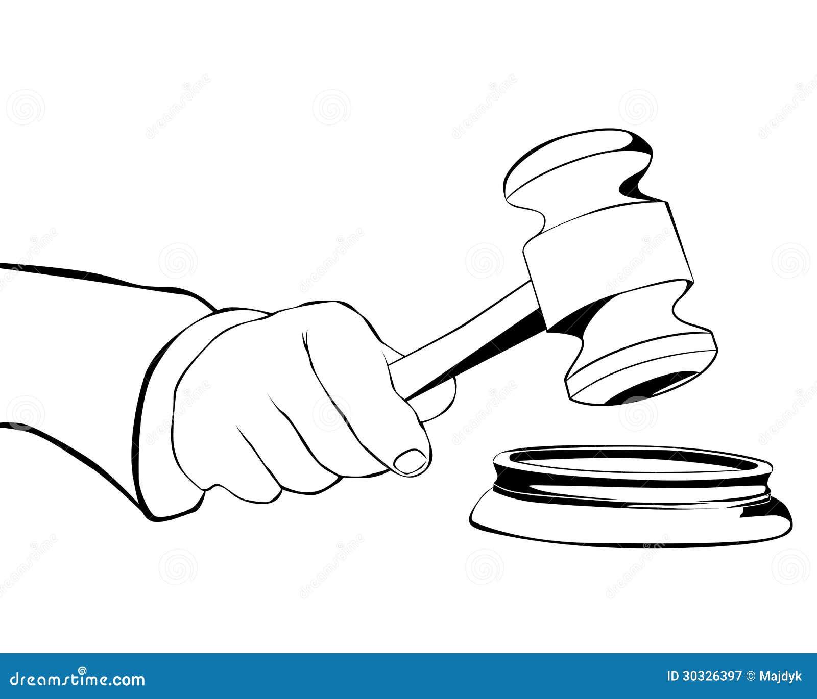 有司法锤子的手