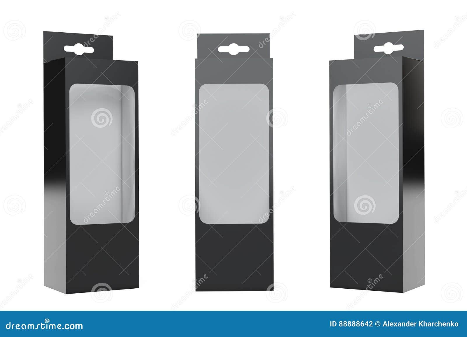 有吊槽孔和透明影片Wi的黑产品包裹箱子