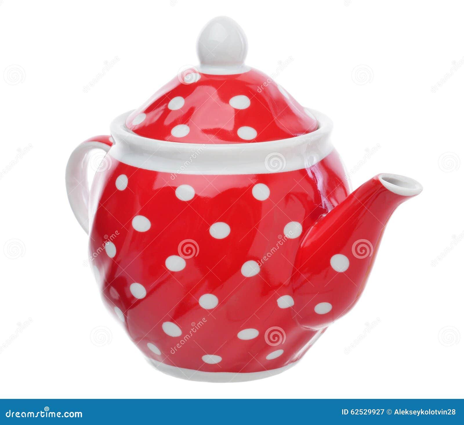 有圆点的红色茶壶被隔绝在白色