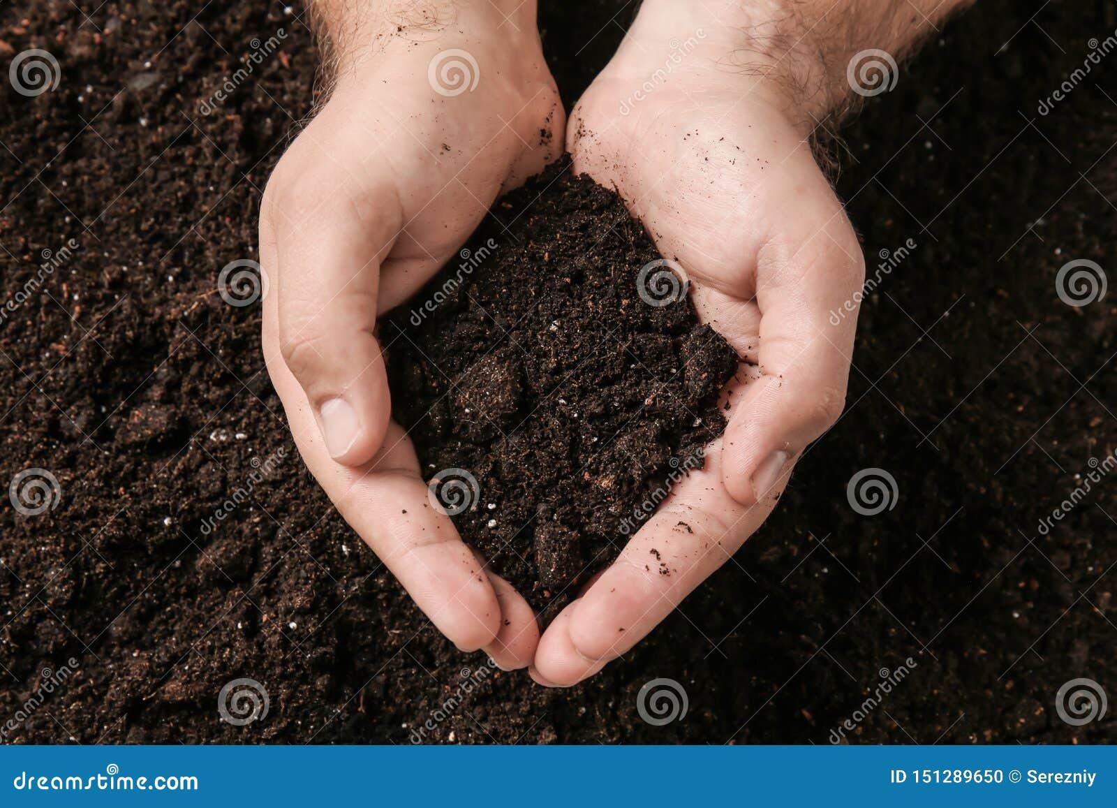 有土壤的男性手
