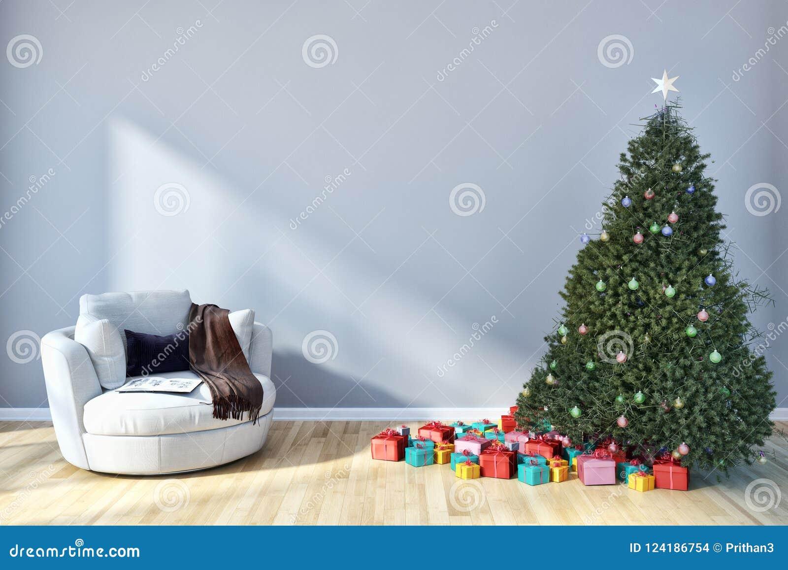 有圣诞节tre的现代明亮的内部公寓客厅