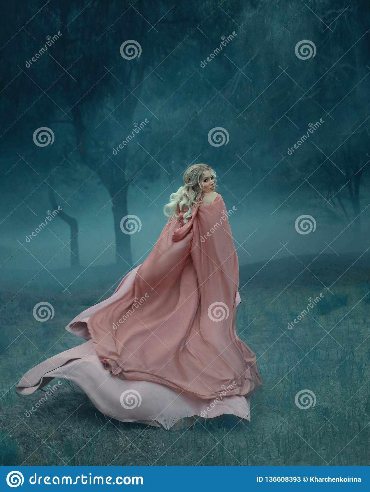 有在一个黑暗和密集的神奇森林里白色薄雾充分运行的金发的童话巫婆,穿戴在长