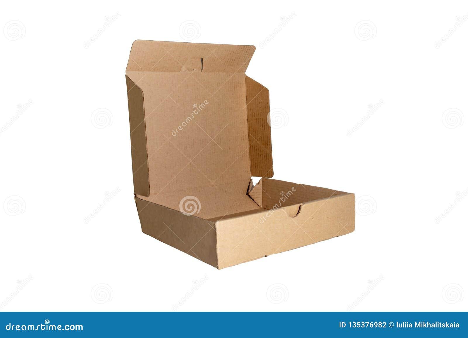 有在白色背景隔绝的开放盖子的纸板箱 交付,移动,包裹和礼物概念