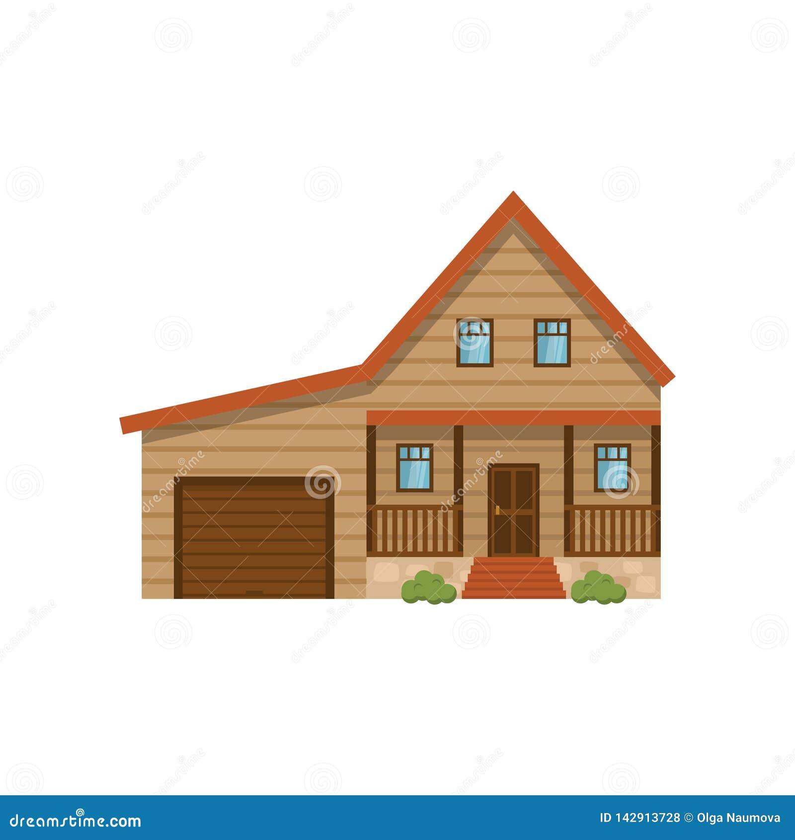 有在白色背景隔绝的车库的经典房子