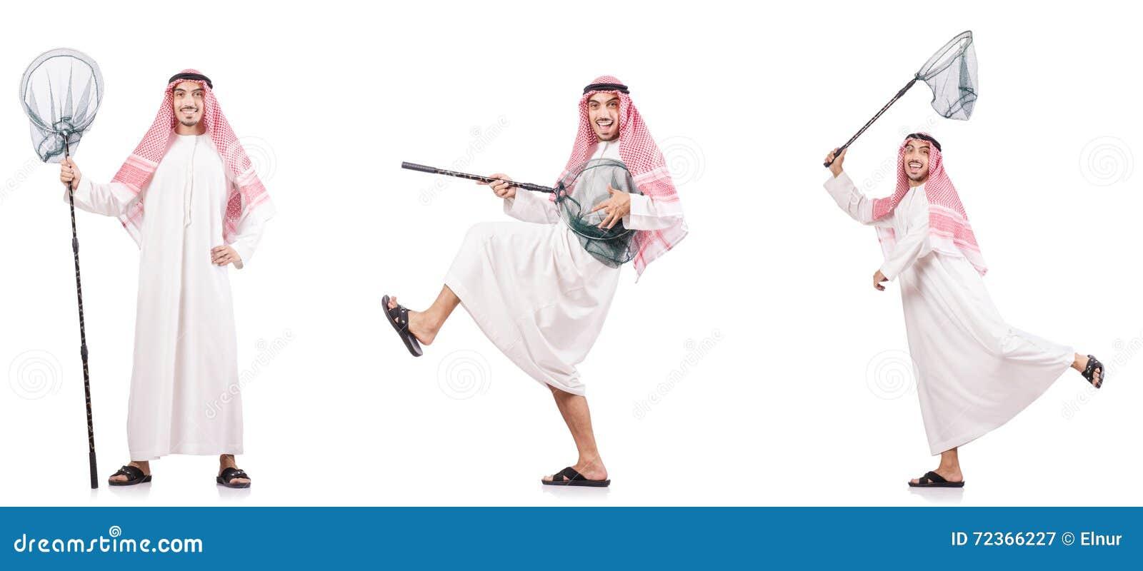 有在白色隔绝的传染性的网的阿拉伯人