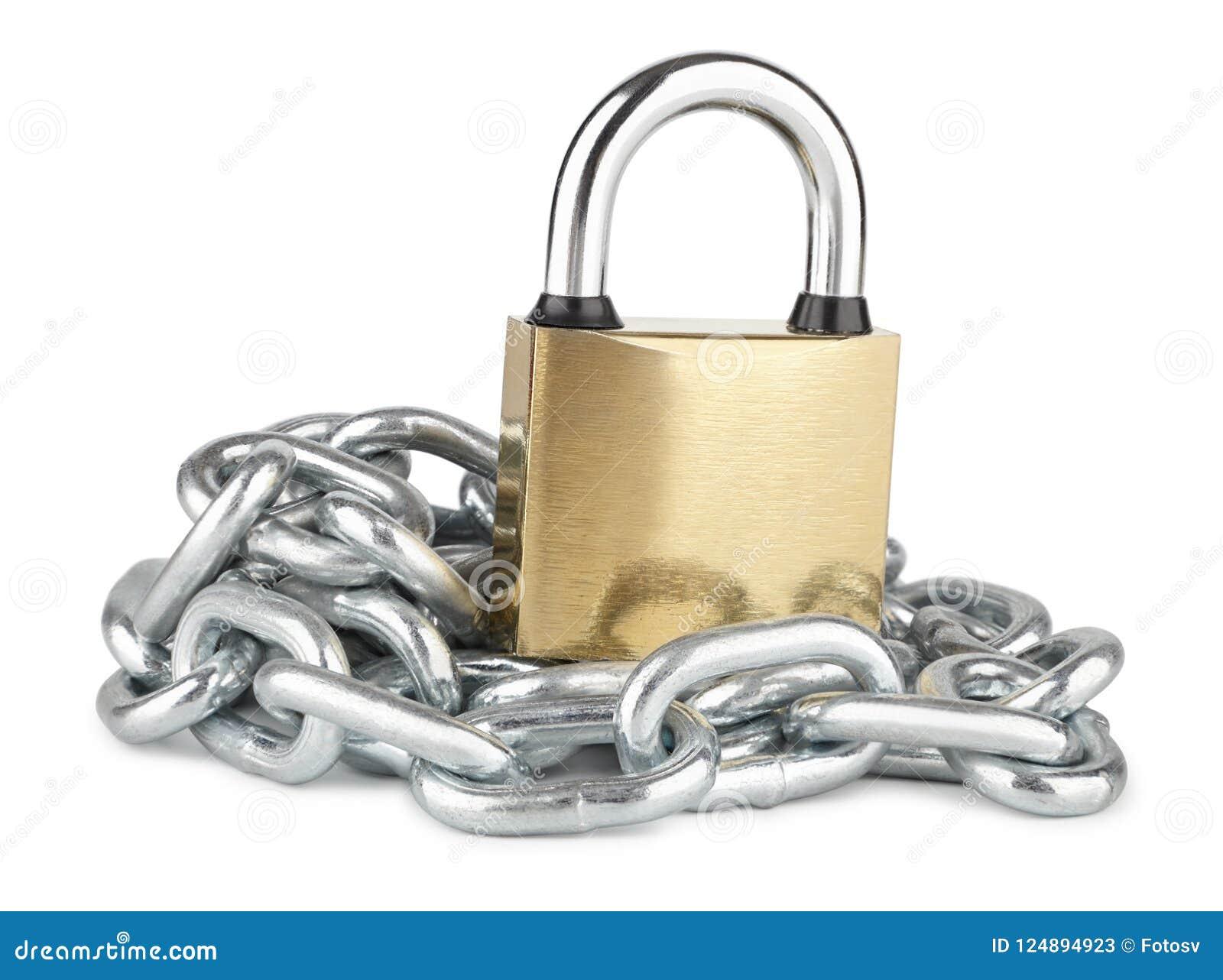 有在白色隔绝的镀铬物被镀的链子的闭合的挂锁