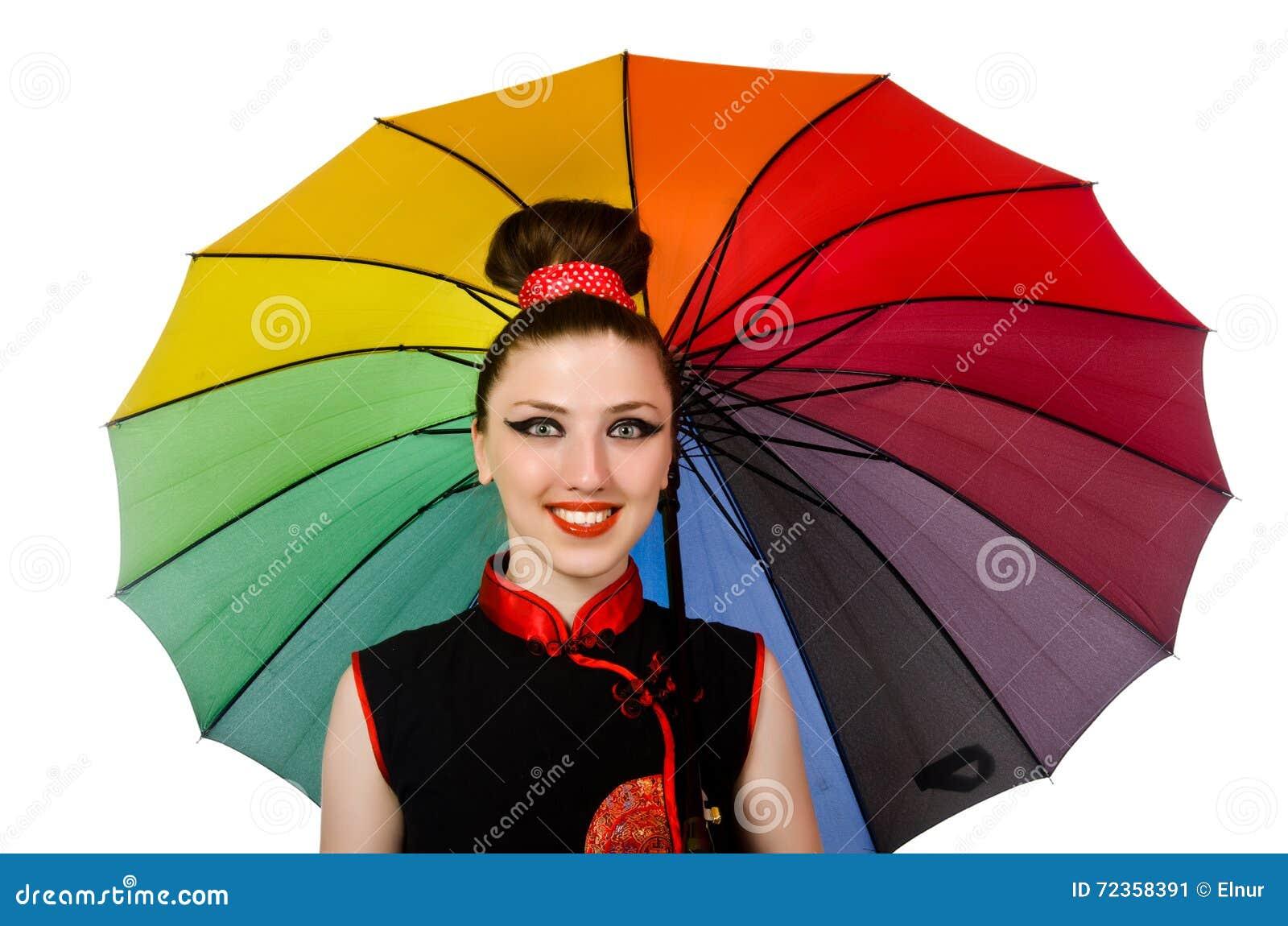 有在白色隔绝的五颜六色的伞的妇女