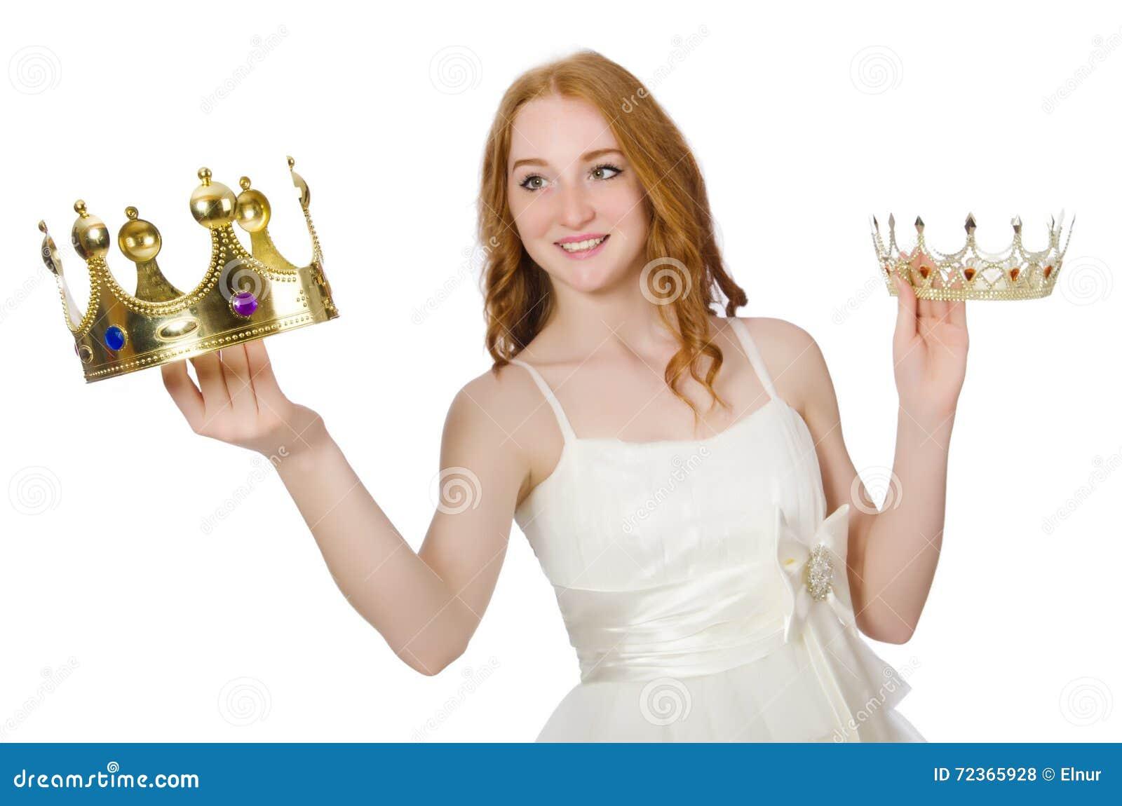 有在白色隔绝的冠的妇女