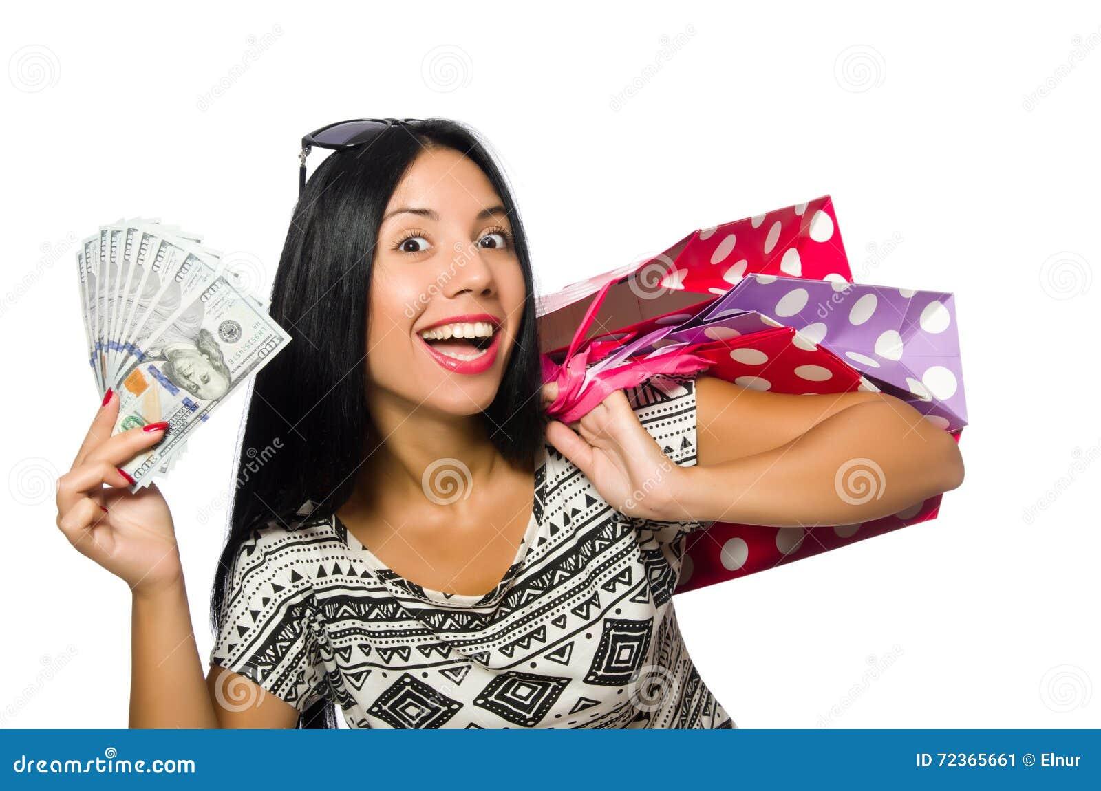 有在白色隔绝的购物袋的妇女