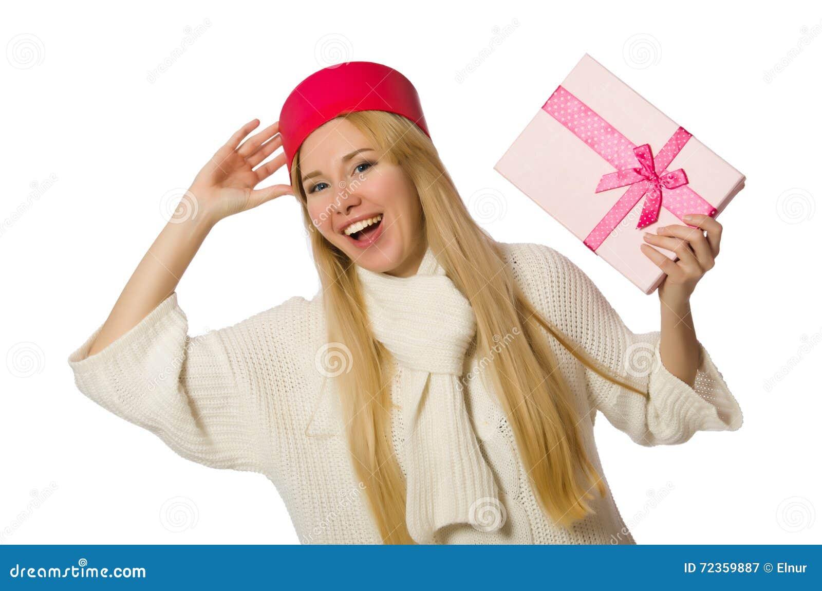 有在白色隔绝的giftboxes的妇女