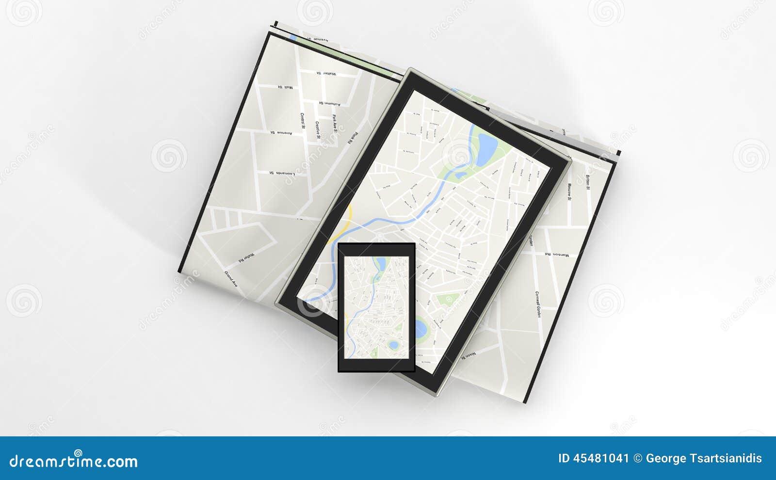 有地图的片剂在屏幕上