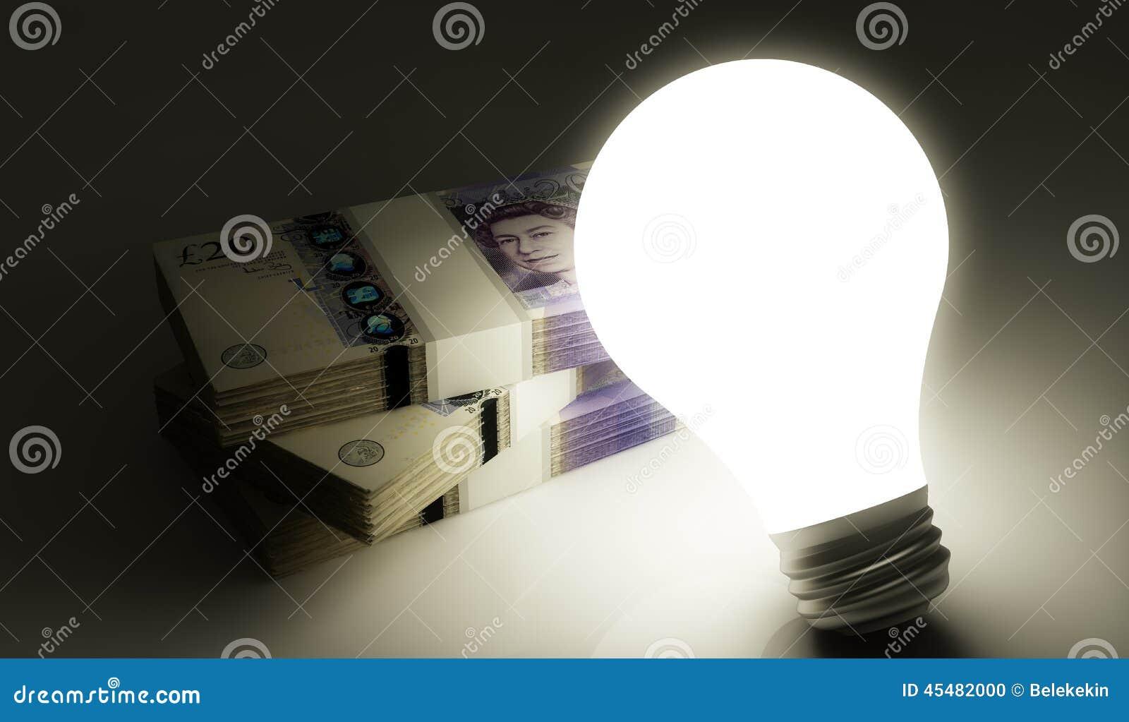 有堆的电灯泡金钱