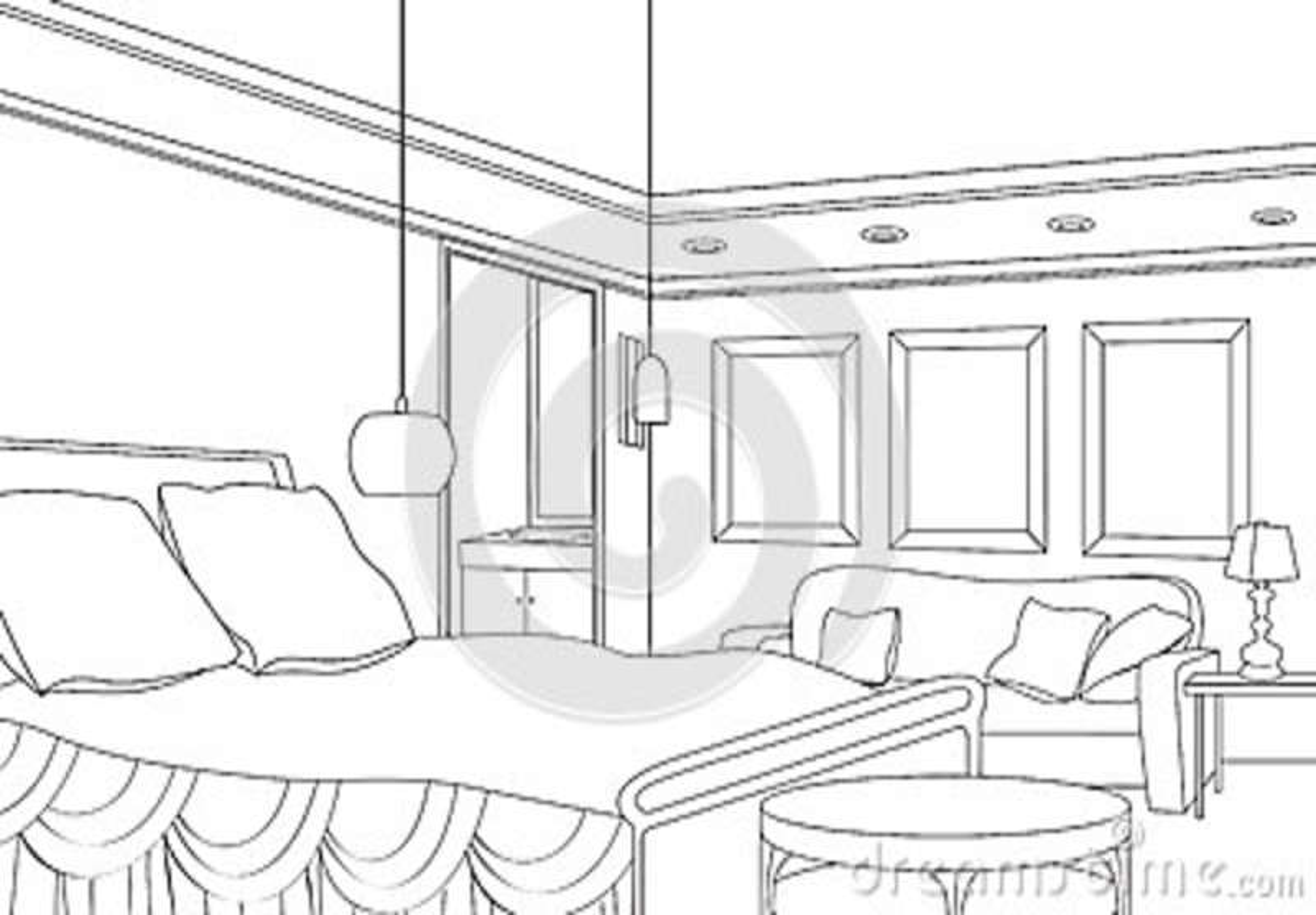 卧室 内部的概述剪影的编辑可能的传染媒介例证 图解手画的内部.图片