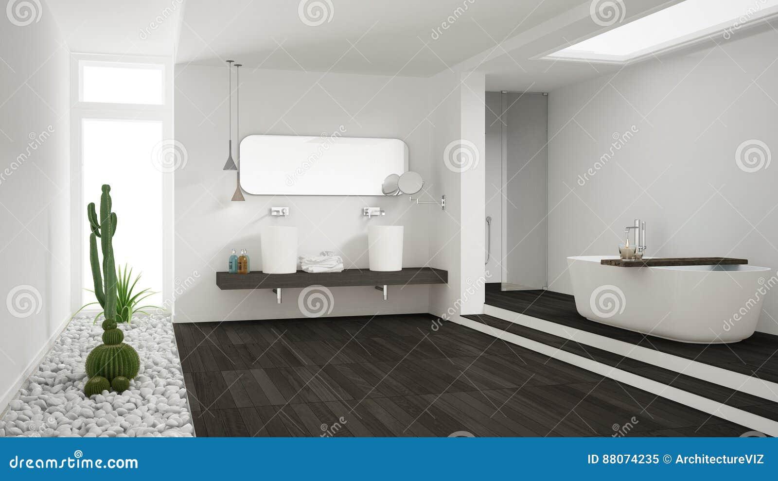 有多汁庭院的,木的地板最低纲领派白色卫生间
