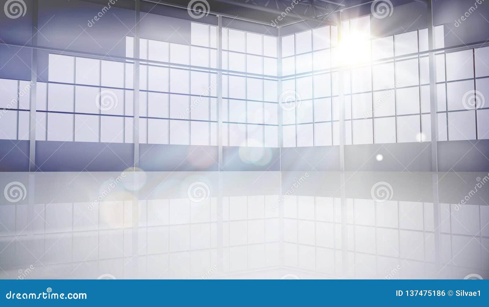 有大窗口的空的大厅 也corel凹道例证向量