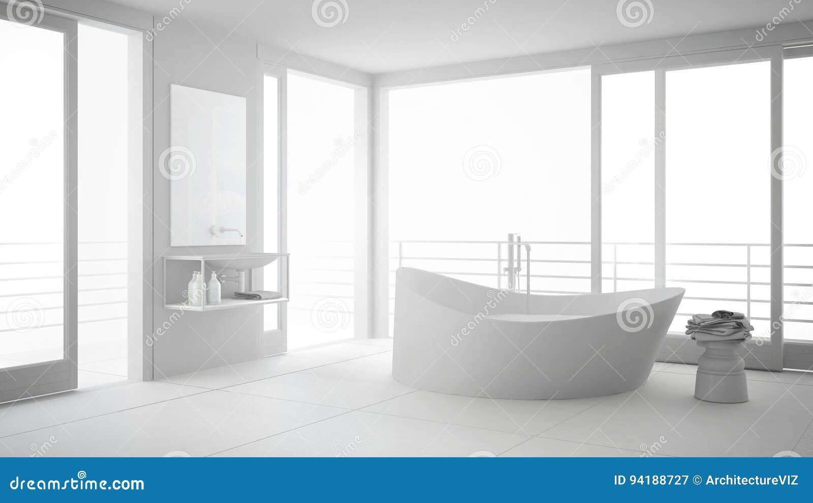 有大浴盆的总白色最低纲领派卫生间和全景