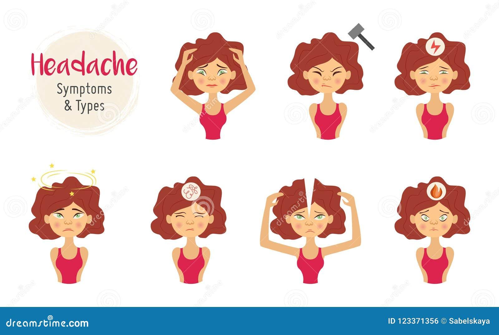 有头疼痛苦集合的传染媒介少妇