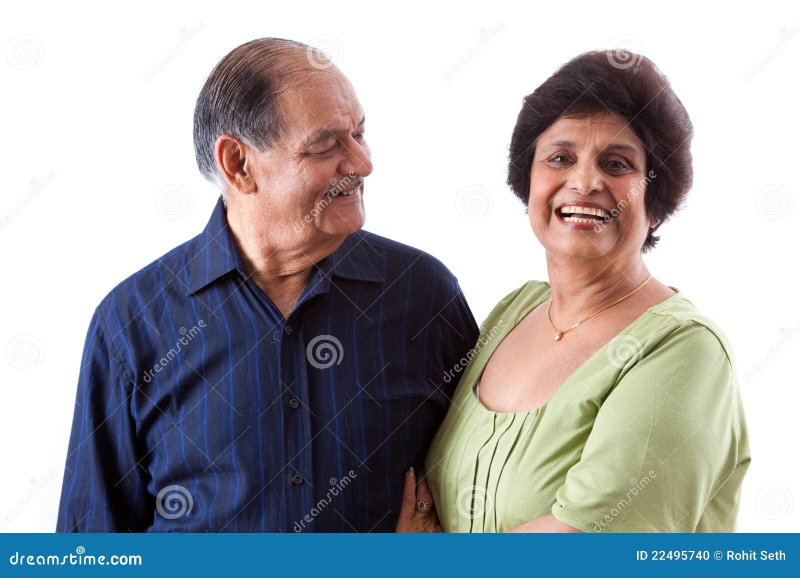 有她的丈夫的东印度人年长妇女