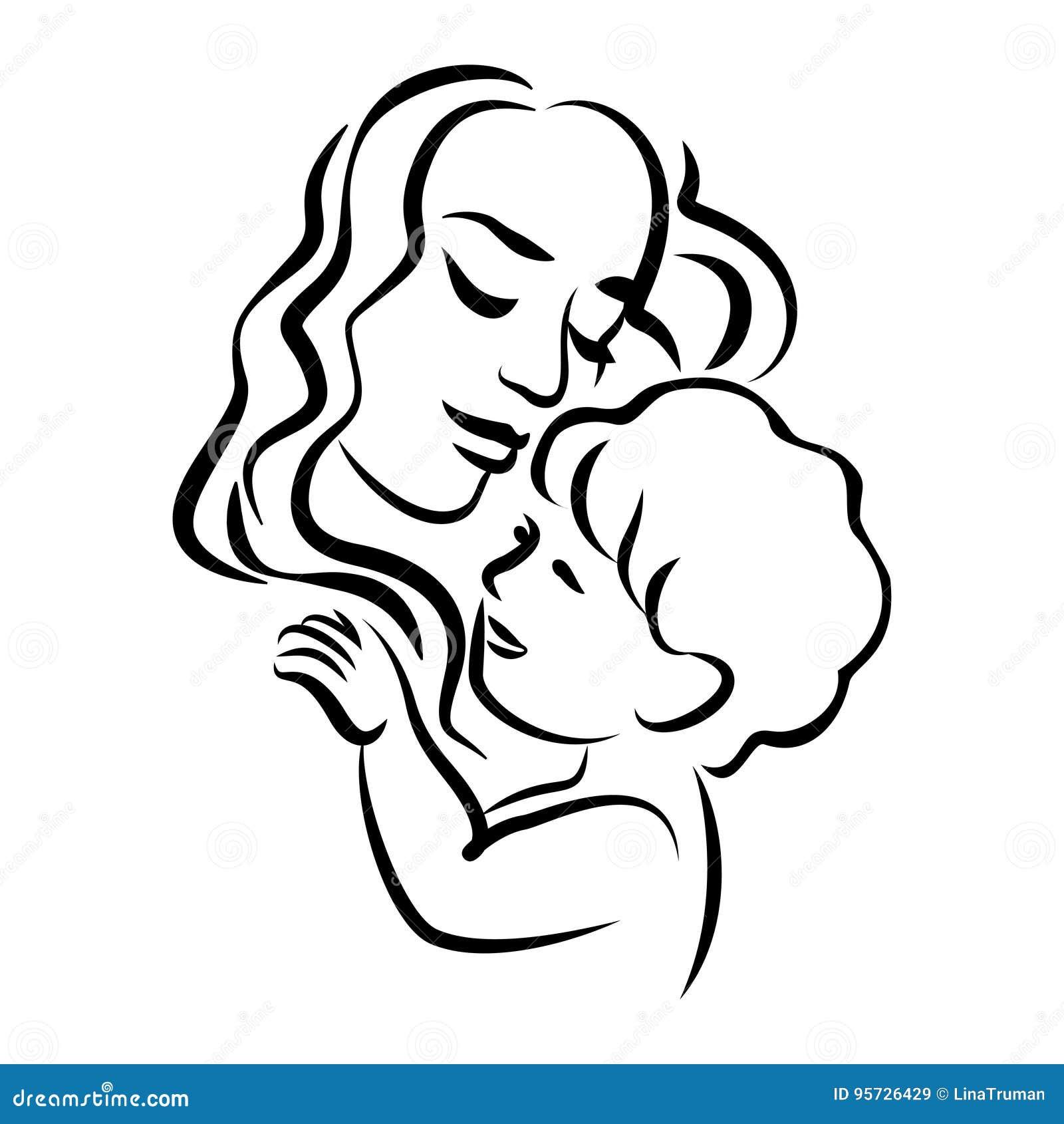 有她的婴孩的母亲 风格化概述标志 母性,爱
