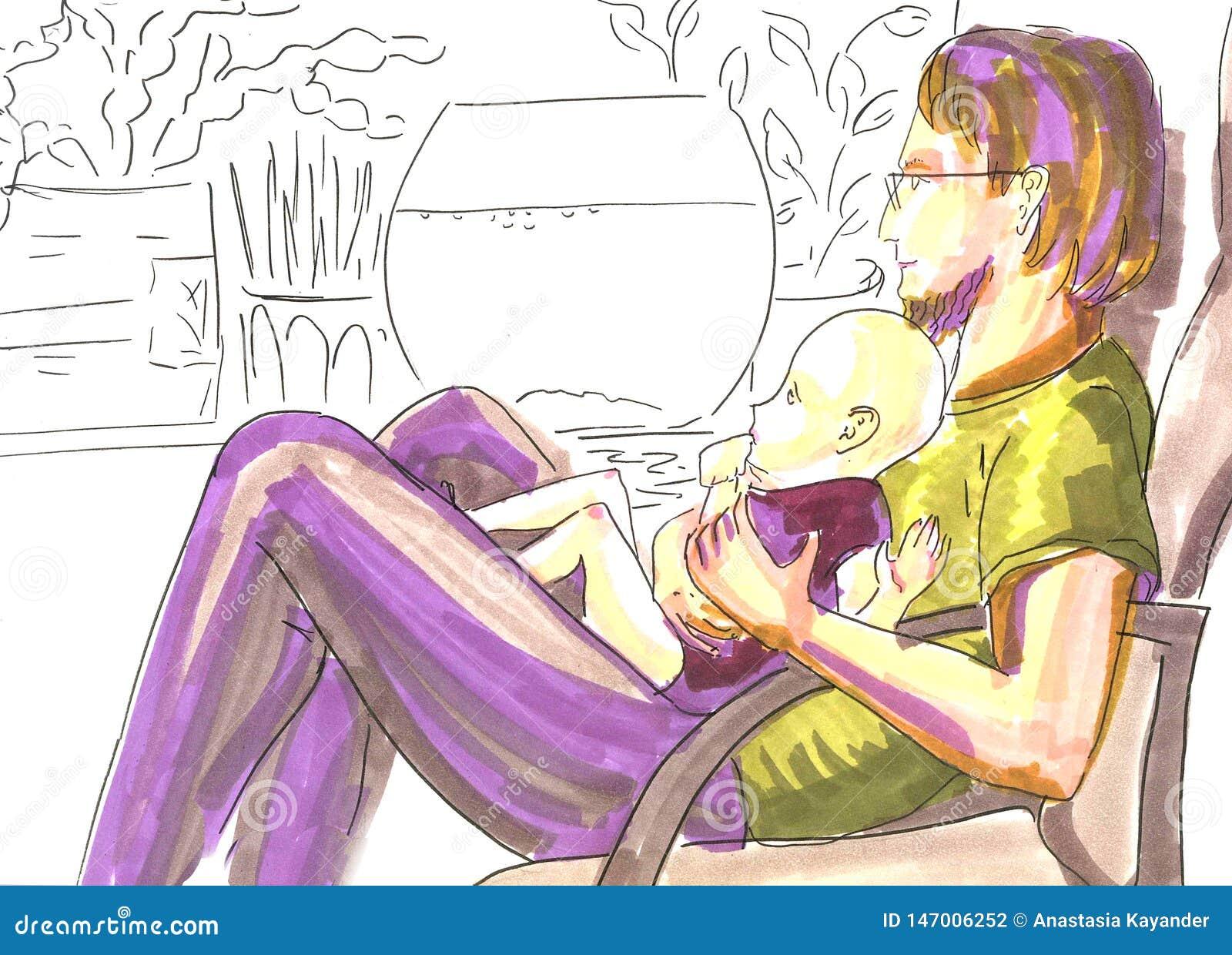 有婴孩的,在软的颜色的手画标志画象父亲在剪影背景