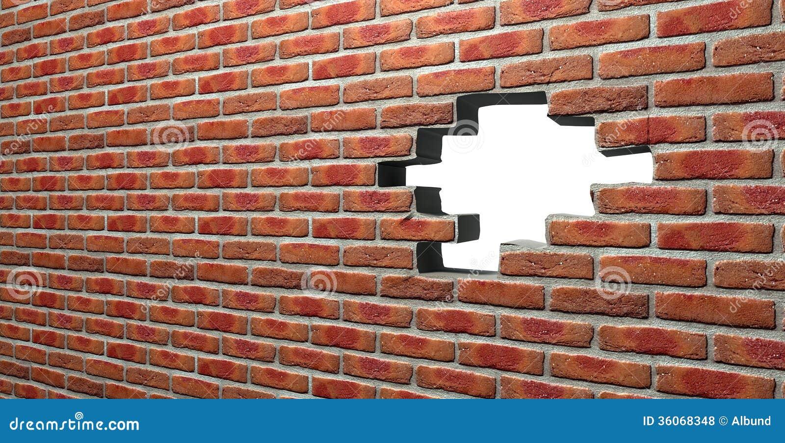 有孔的面砖墙壁