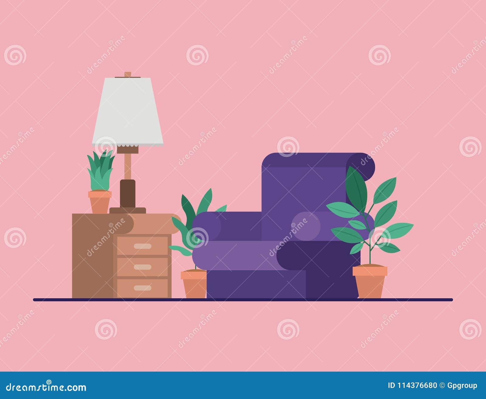 有室内植物和灯的客厅