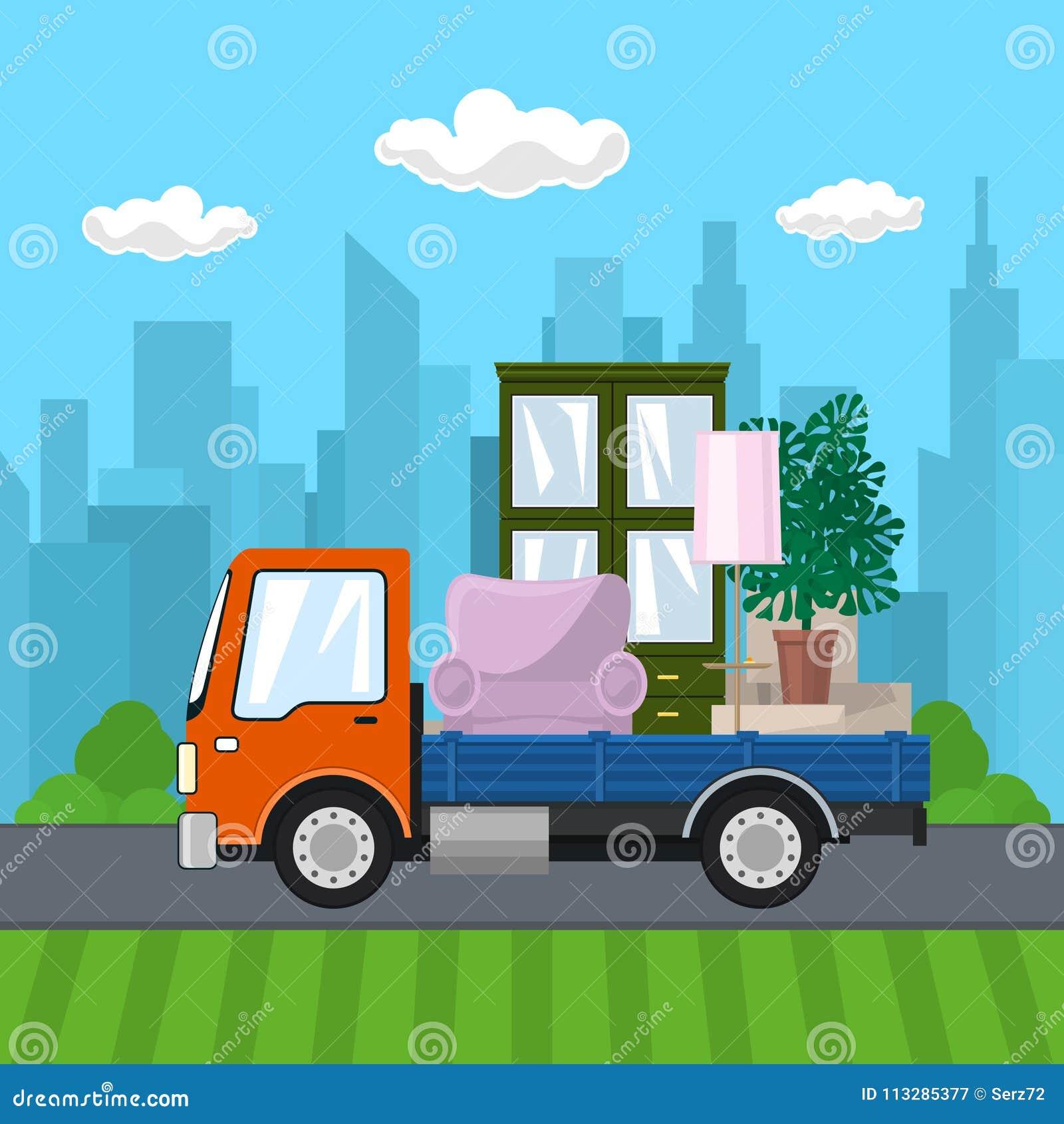 有家具的卡车在路