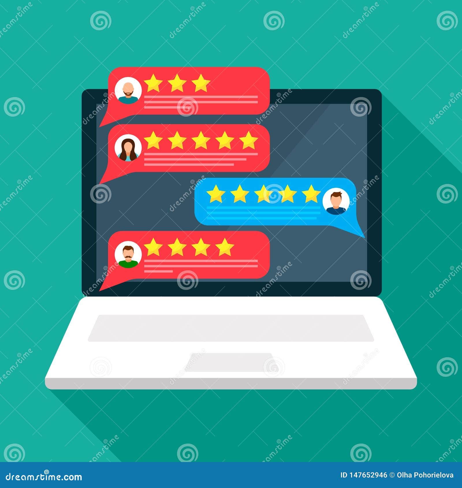 有对在商品和服务的质量的用户反映的评估的开放膝上型计算机 用户具体化 r
