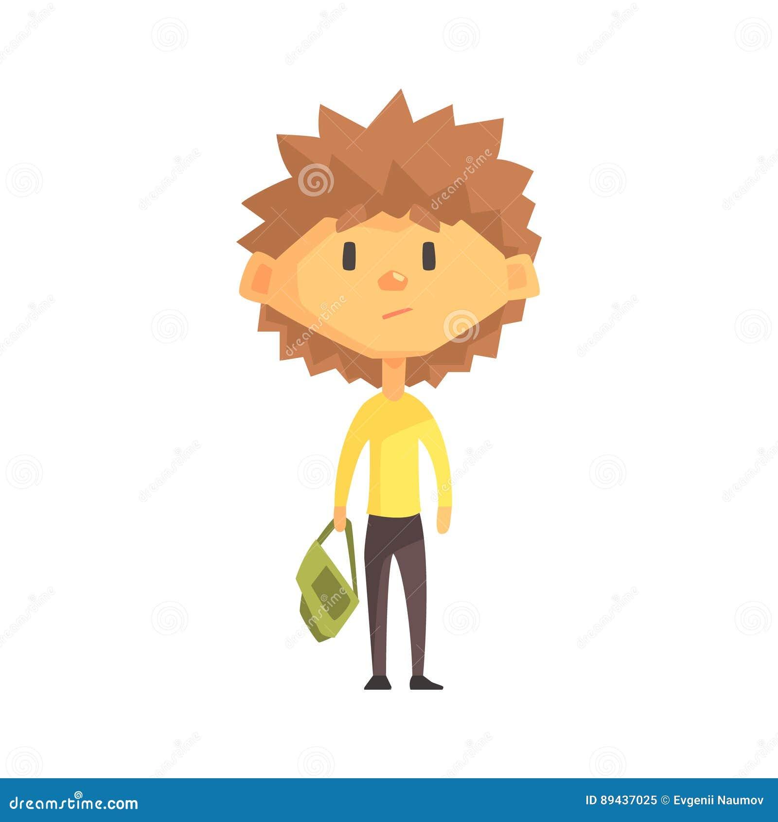 有尖刻的布朗头发的严肃的男孩,小学孩子,基本的类成员,被隔绝的年轻学生字符