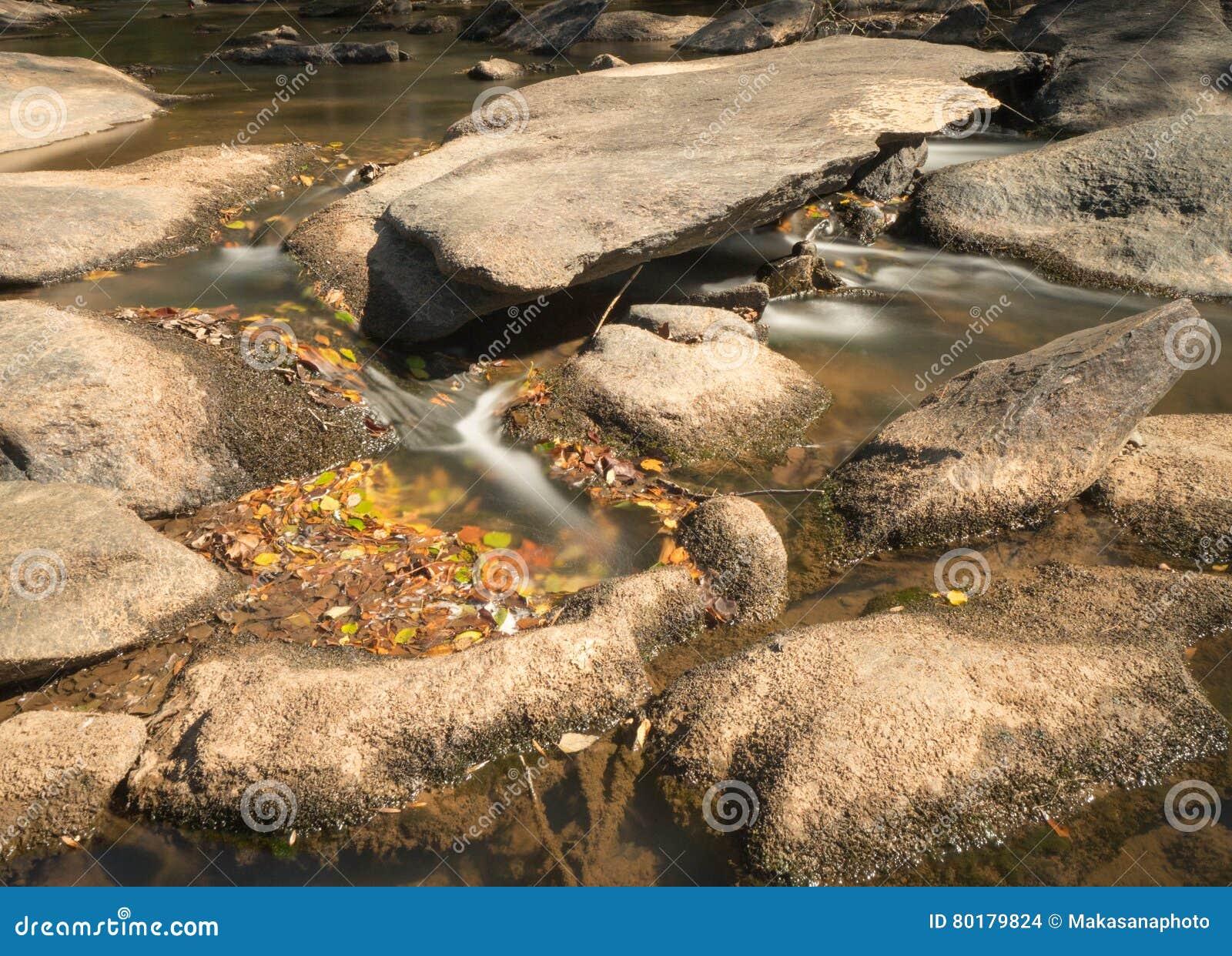 有岩石和小瀑布的河