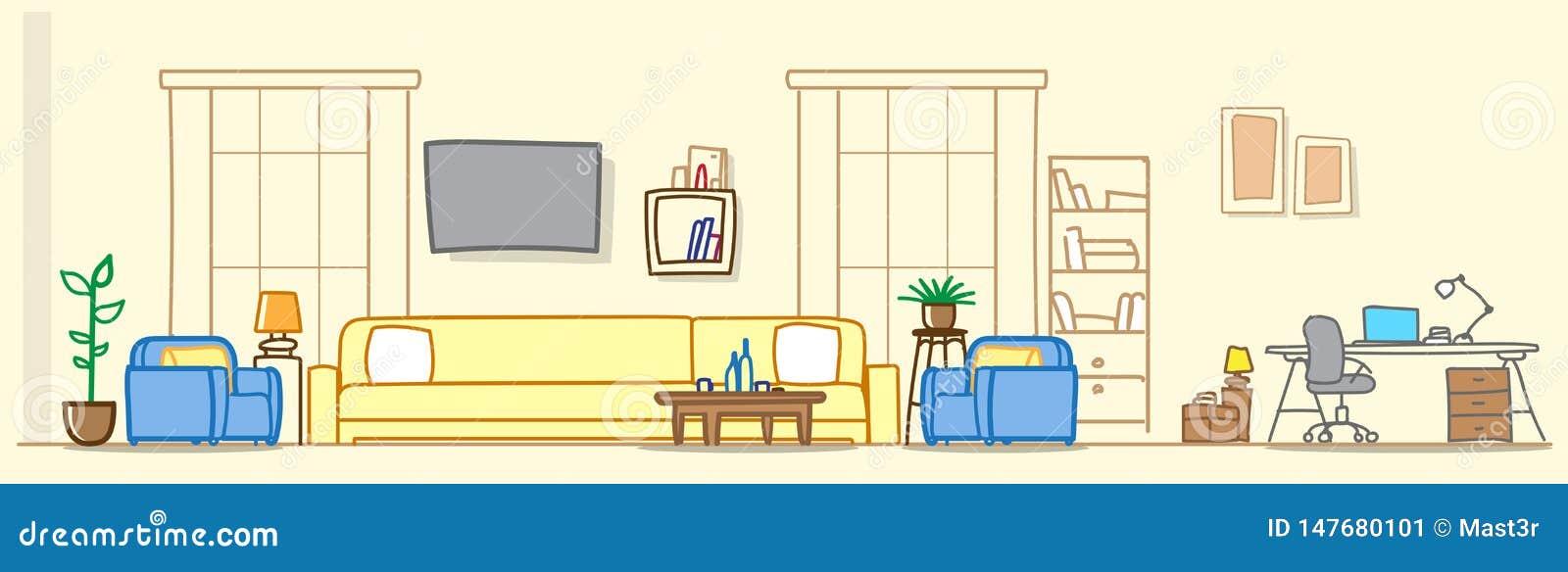 有工作场所区域的现代客厅不倒空人房子家具当代公寓室剪影乱画