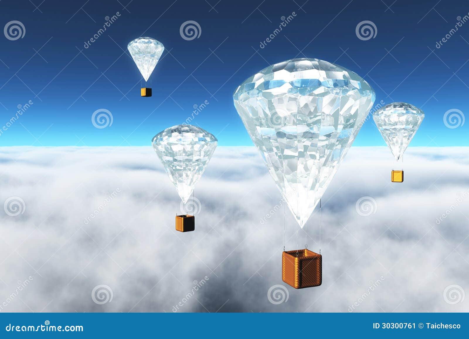 在云彩的金刚石热气球