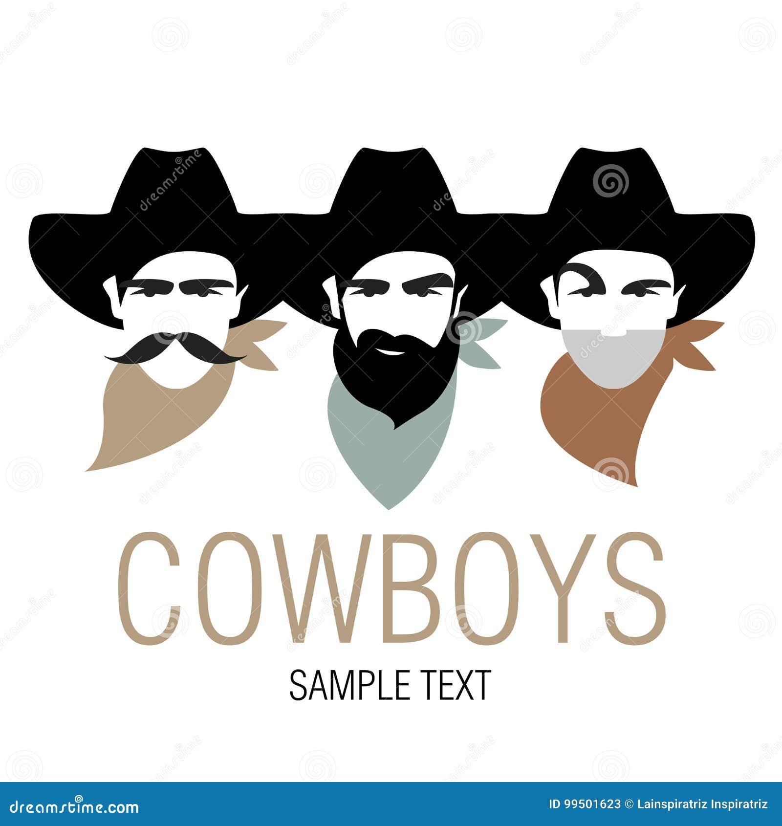 有帽子和颈巾的三位牛仔 美国的符号图象