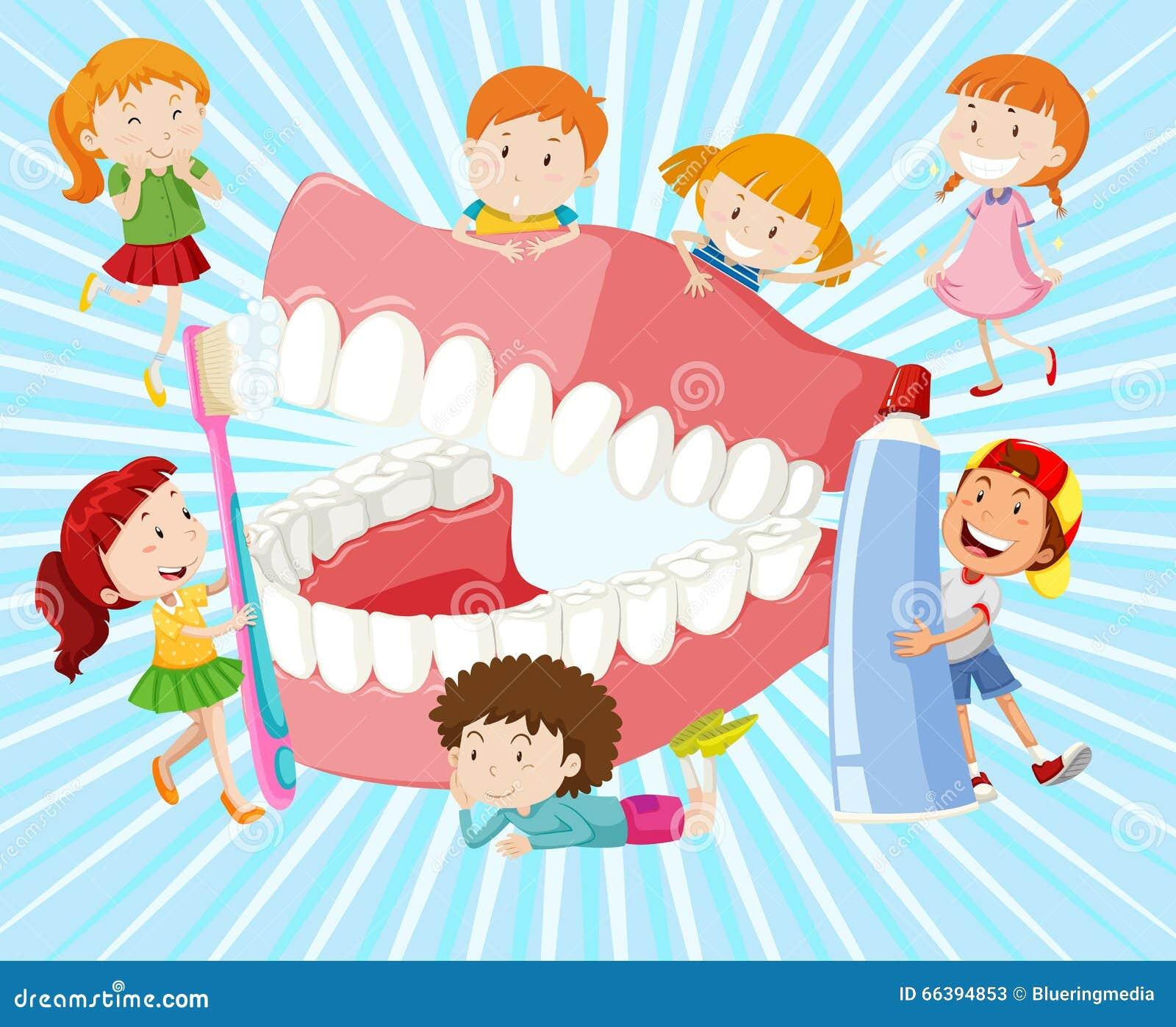 有干净的牙的孩子